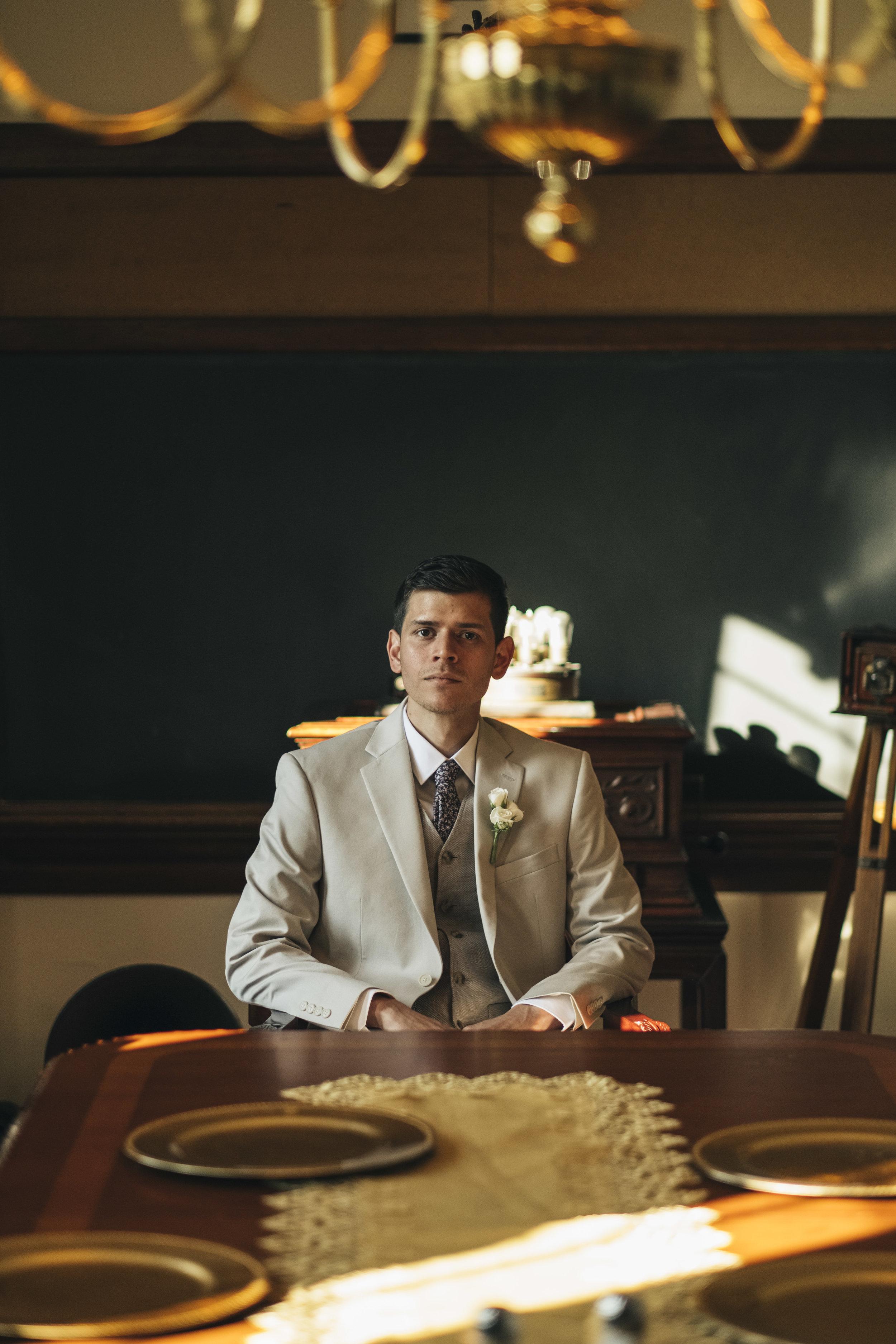 Portrait of the groom at Nazareth Hall.