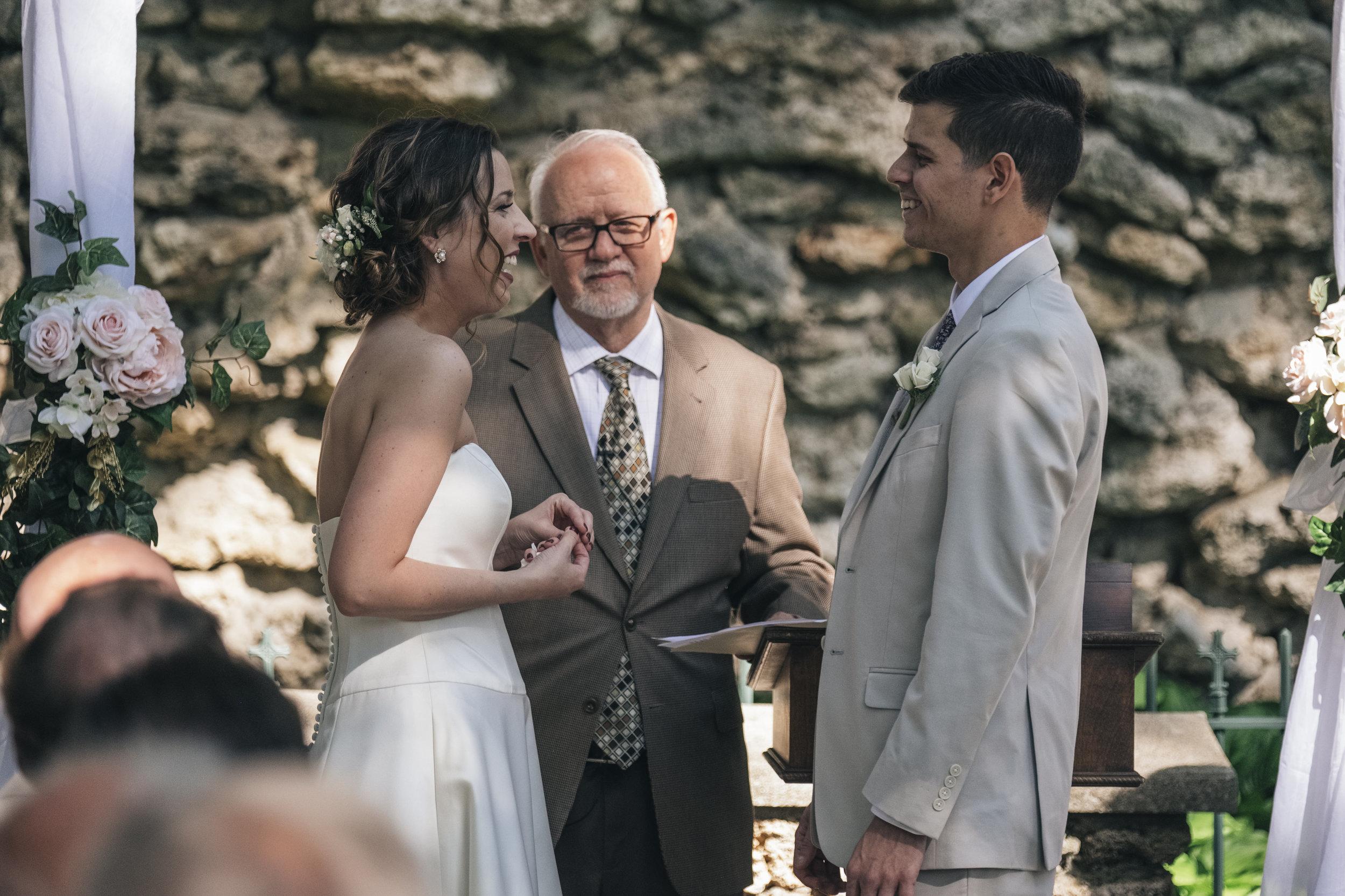 Wedding ceremony in Grand Rapids Ohio at Nazareth Hall.