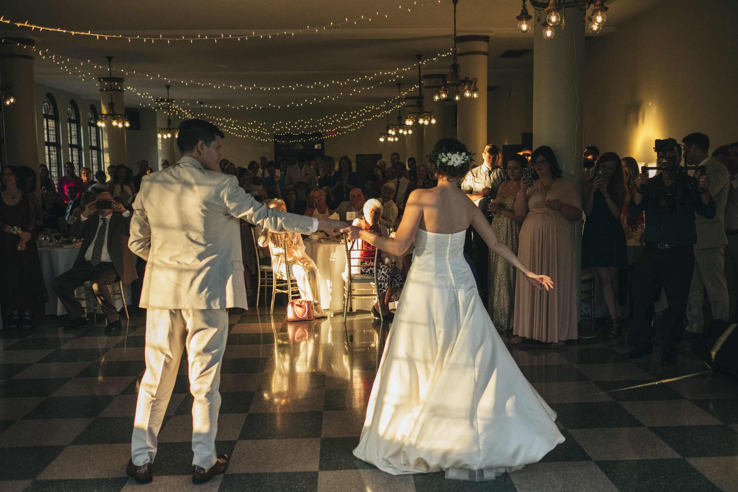 Bride and groom during their first dance as husband and wife at Nazareth Hall wedding.