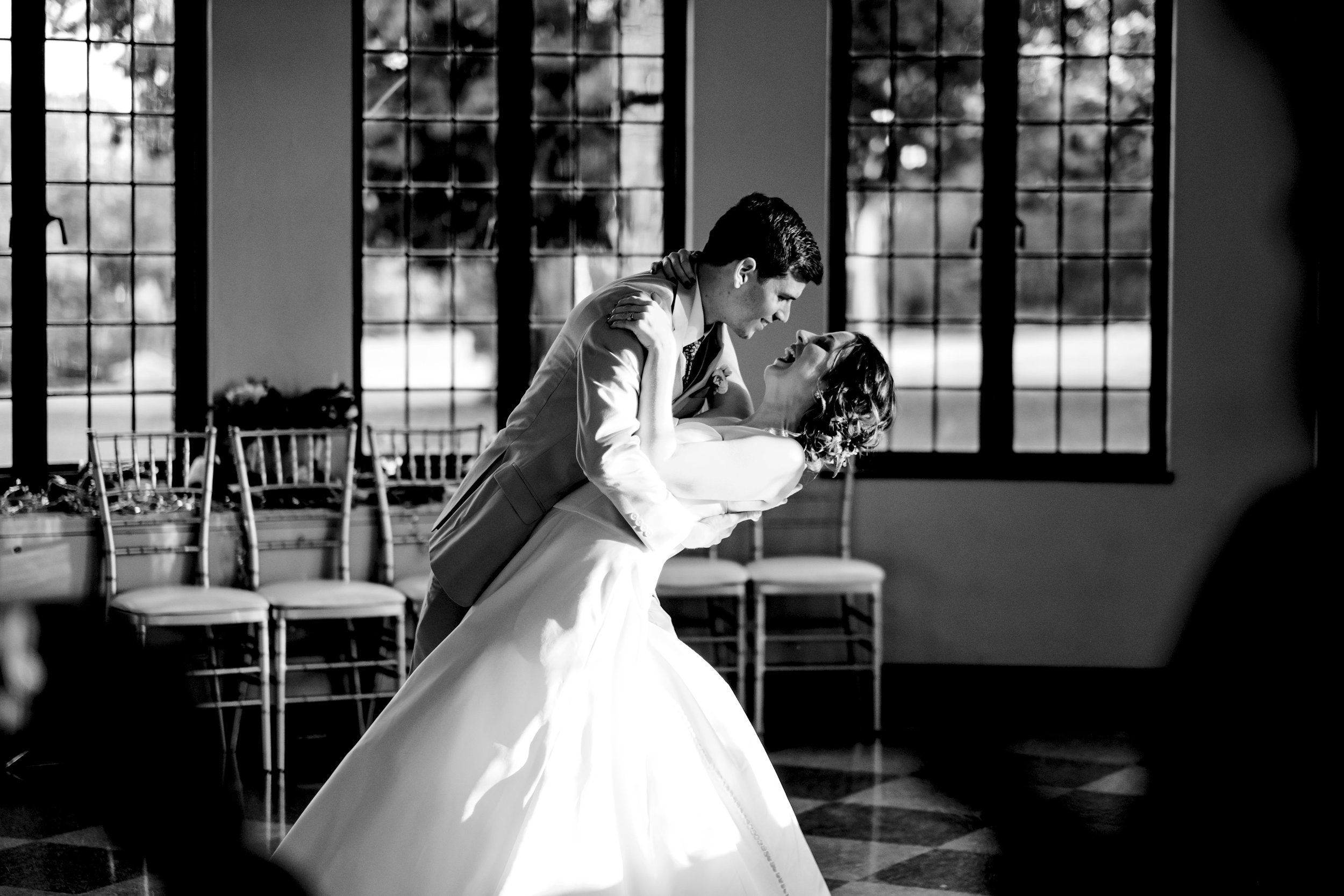 Bride and groom during their first dance in Toledo, Ohio.
