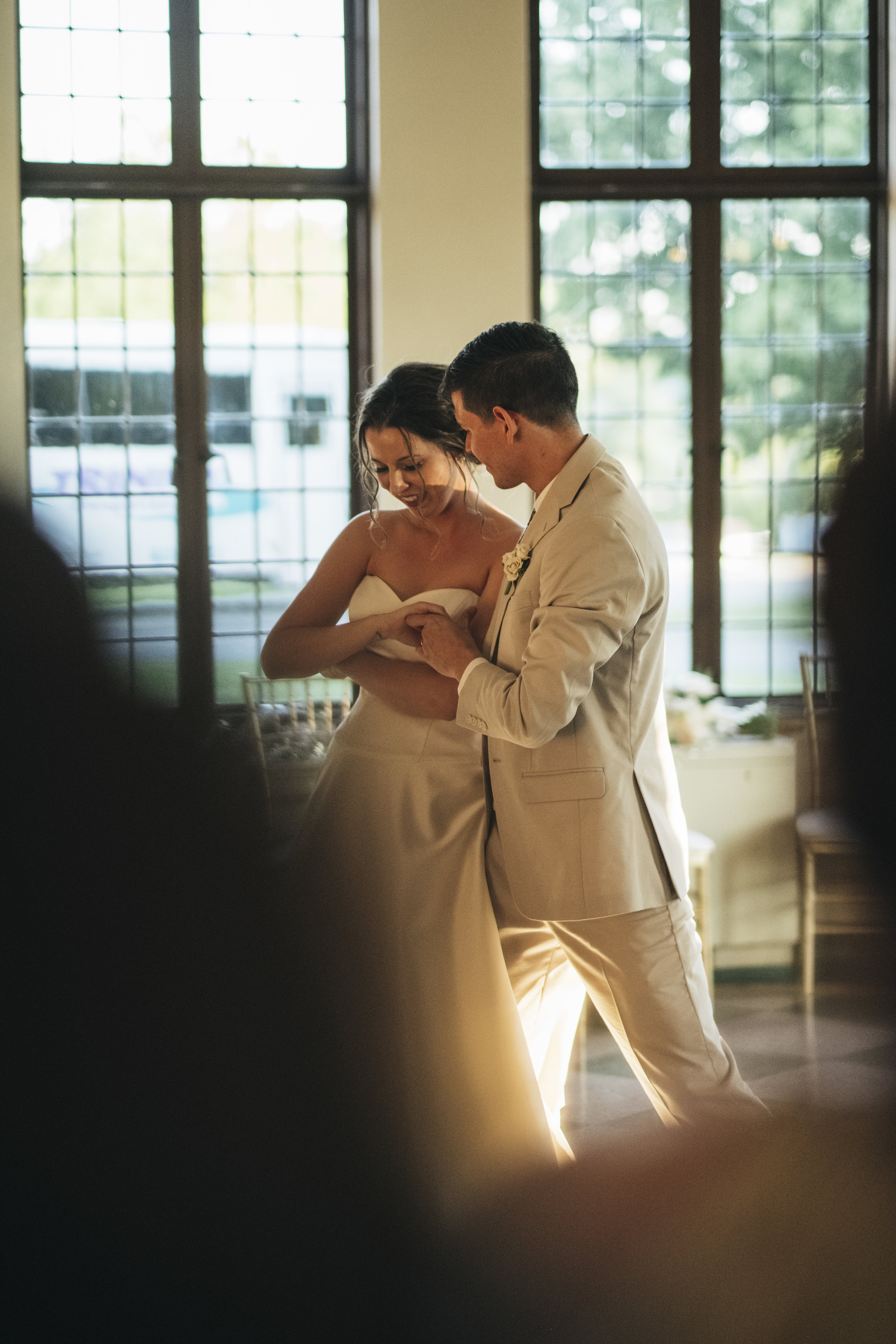 Bride and groom dance for the first time at their reception.