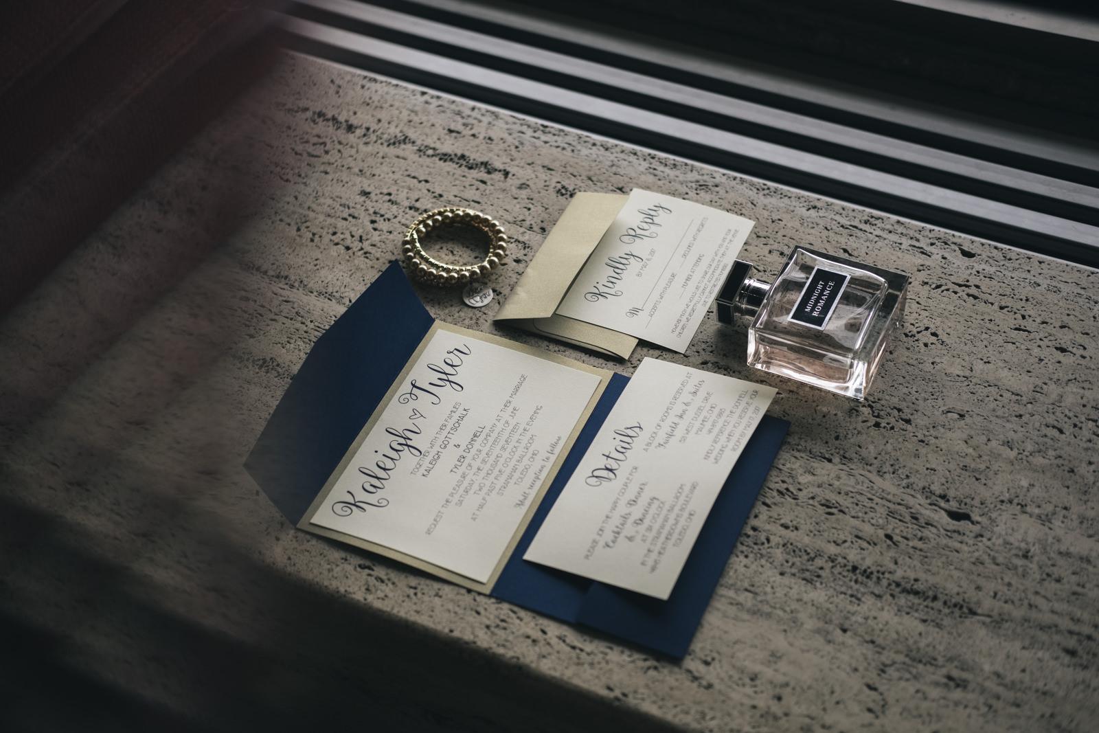 Wedding invitations and perfume for Toledo, Ohio wedding.