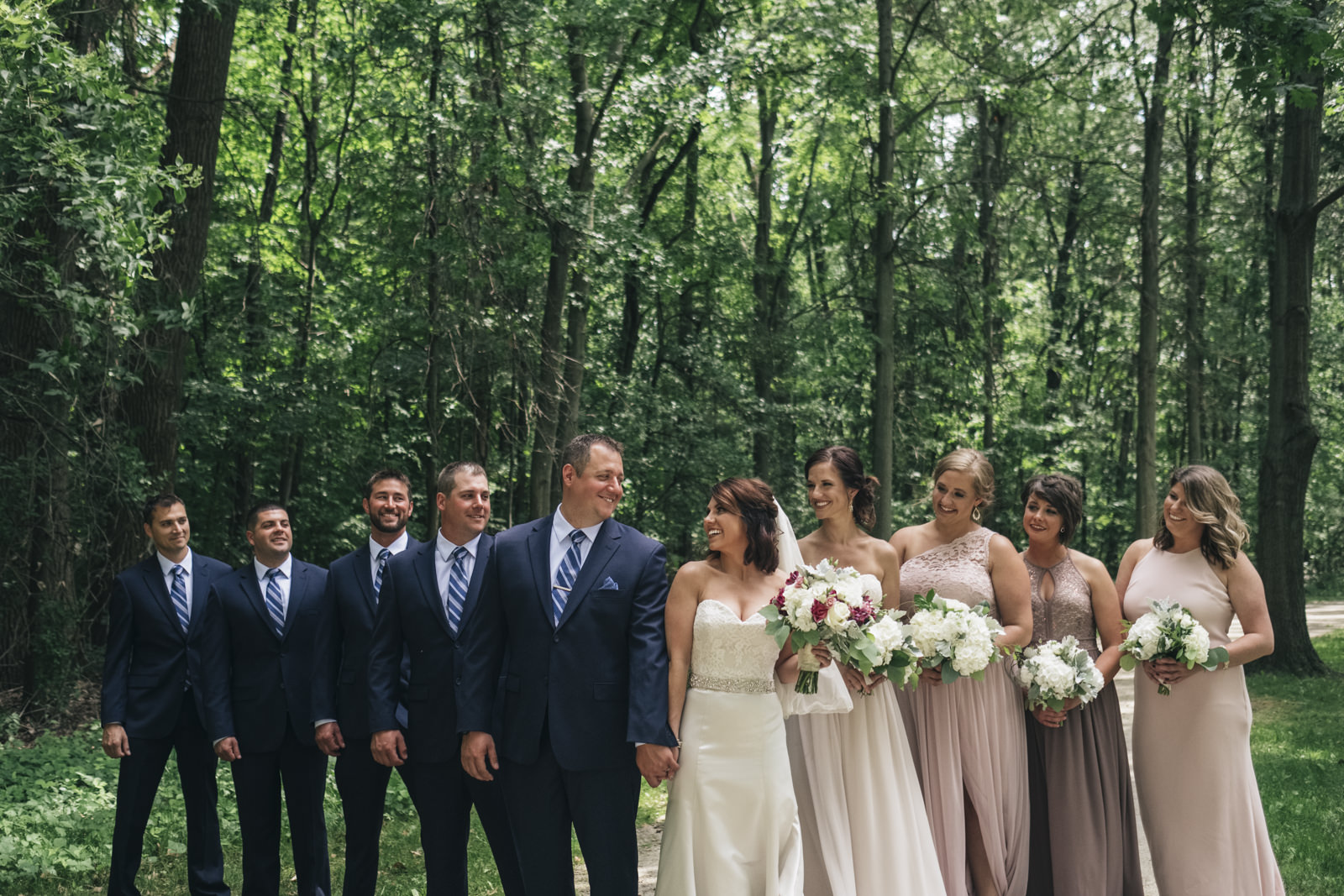 Group bridal party picture before wedding ceremony.