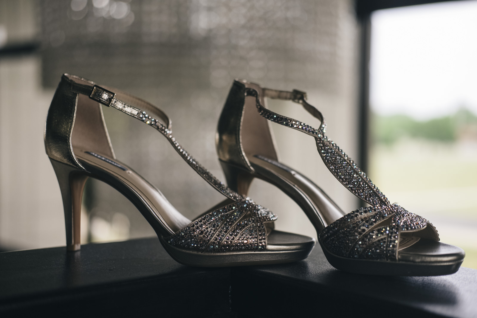 The bride's sparkly heeled shoes for her wedding day.