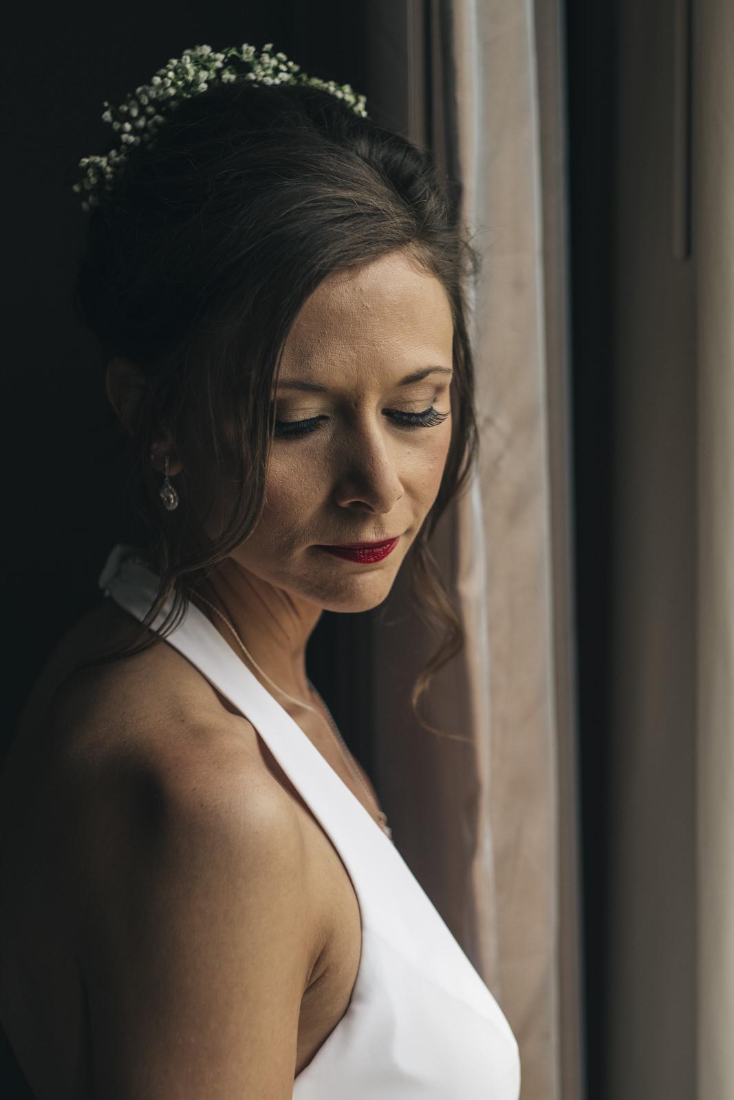 Portrait of the bride before her elopement.