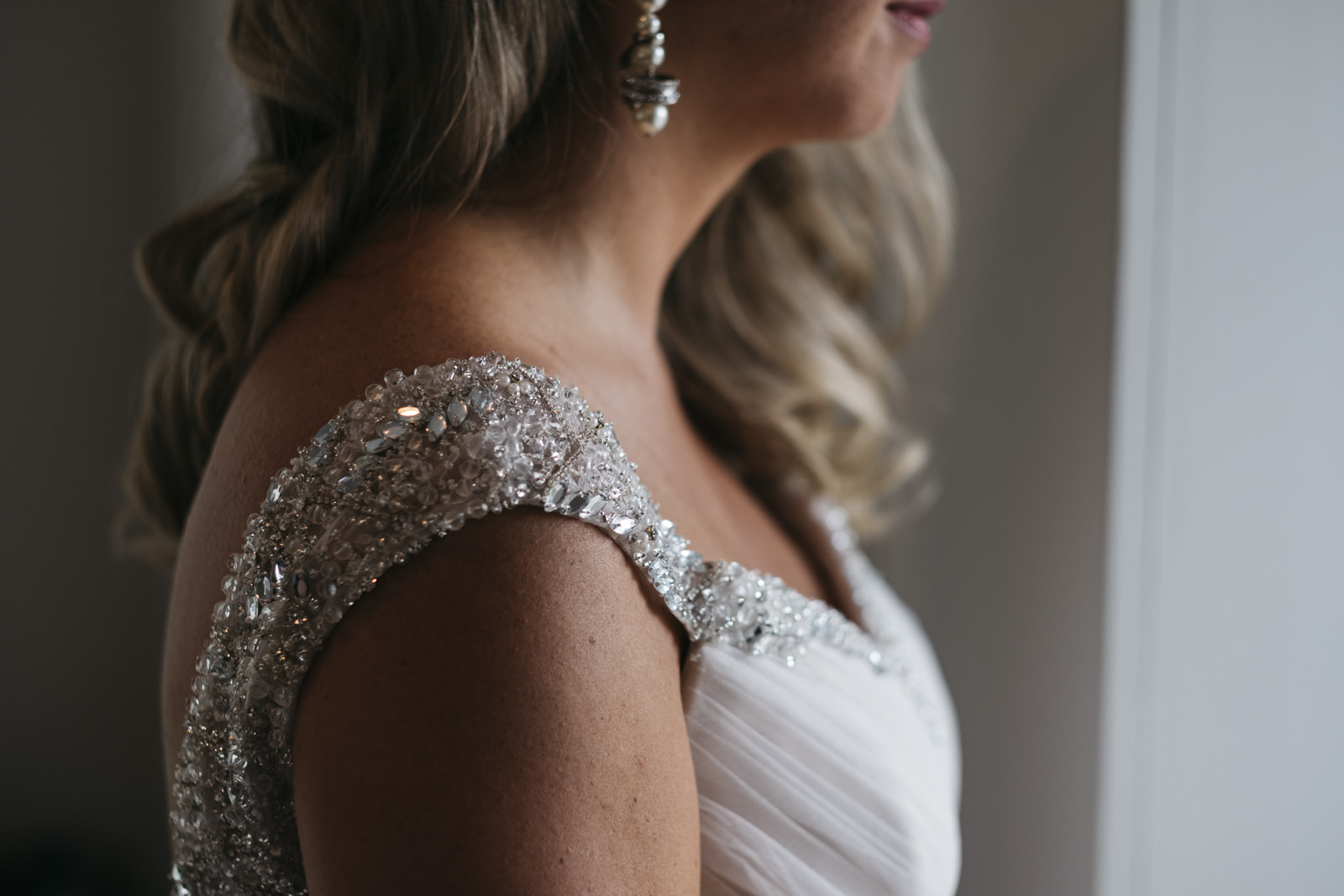 Portrait of the bride before her wedding in Toledo, Ohio.