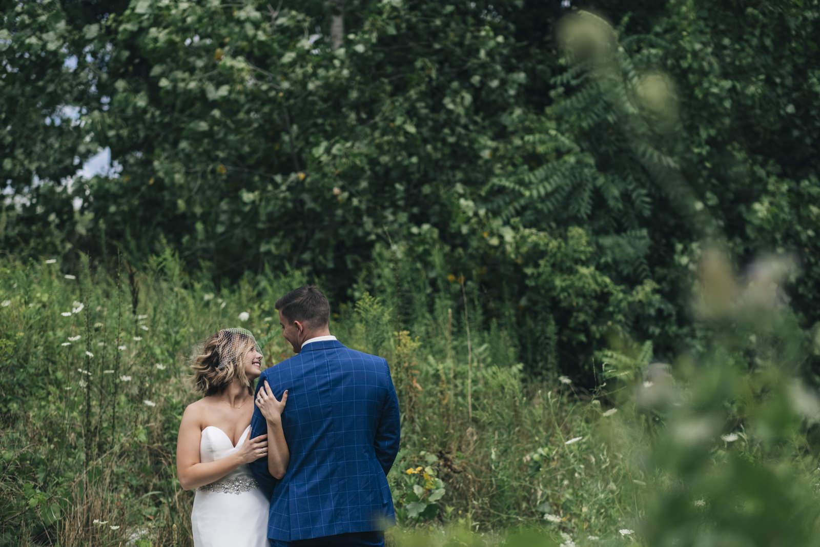 Bride and groom portrait session at Harroun Park in Sylvania, Ohio.