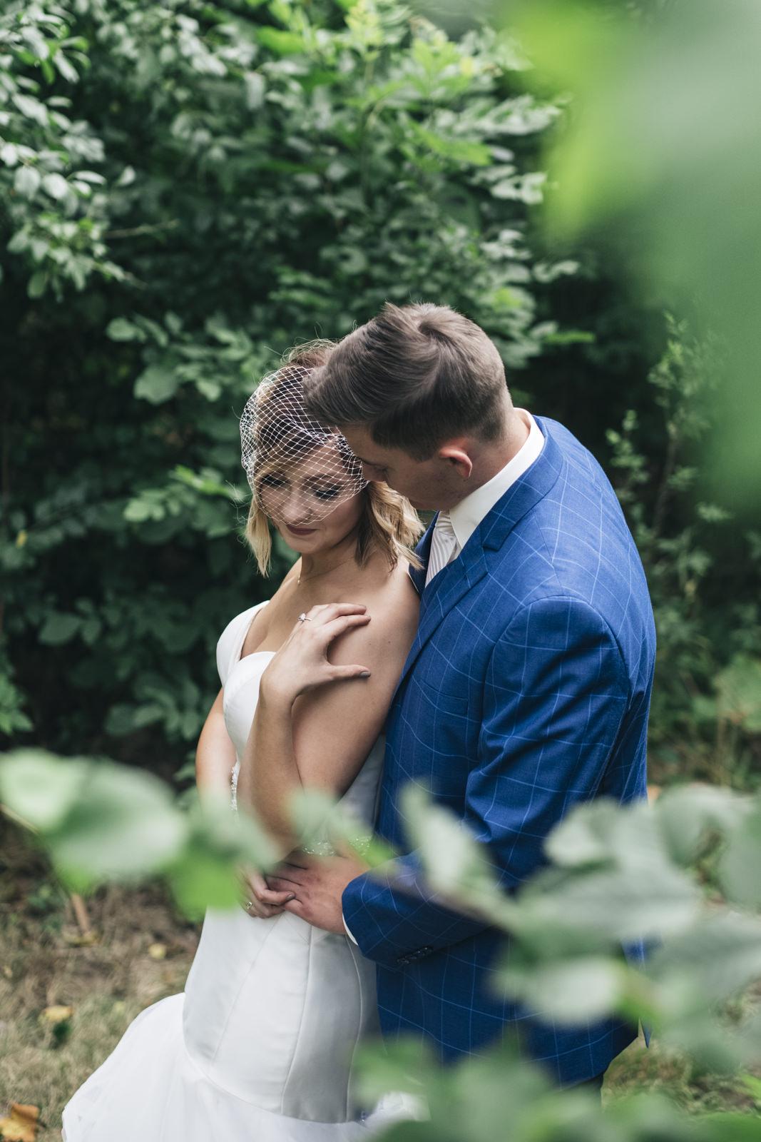 Bride and groom portrait at Harroun Park in Sylvania, Ohio.