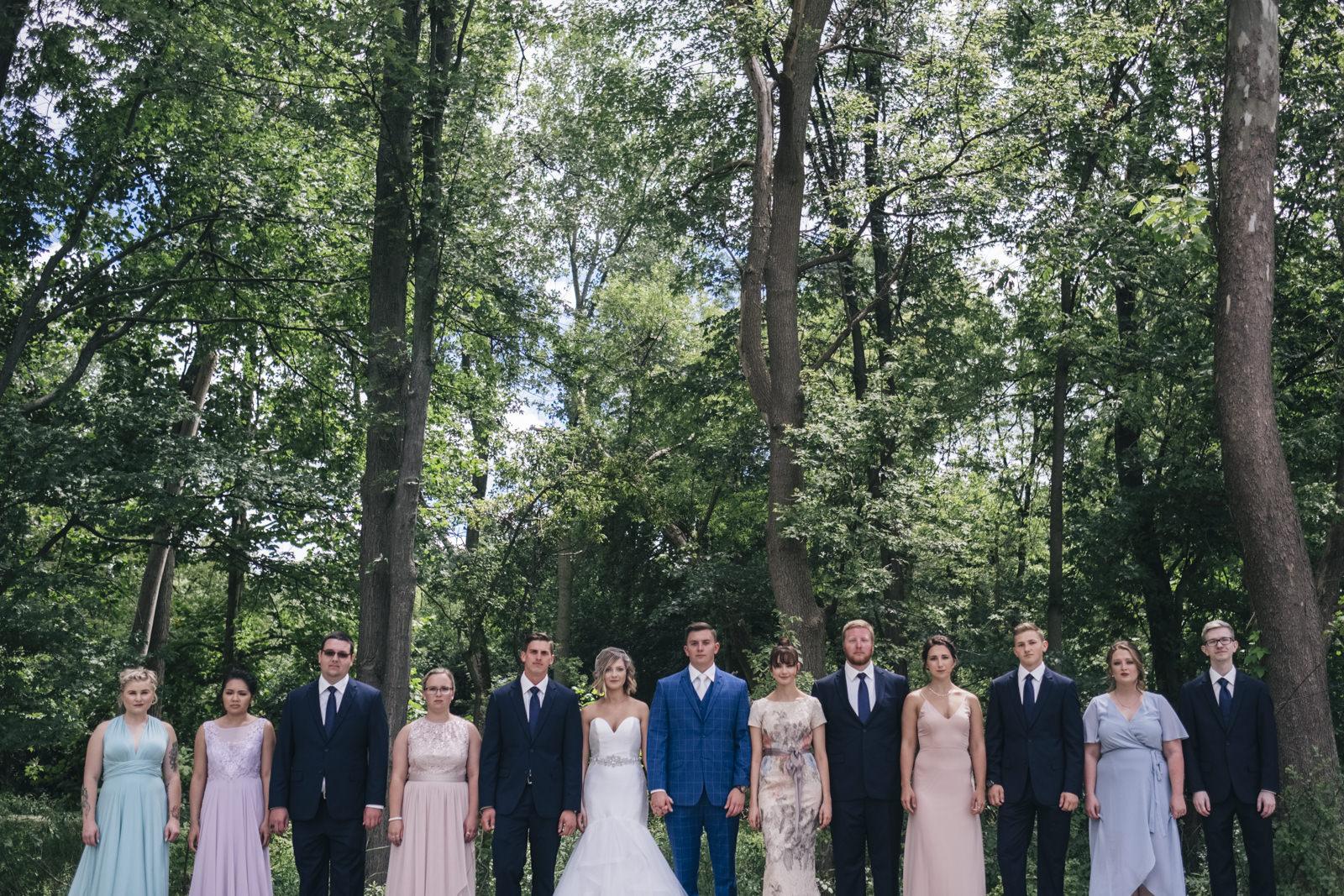 Navy blue and pretty pastel bridal party in Sylvania, Ohio wedding.
