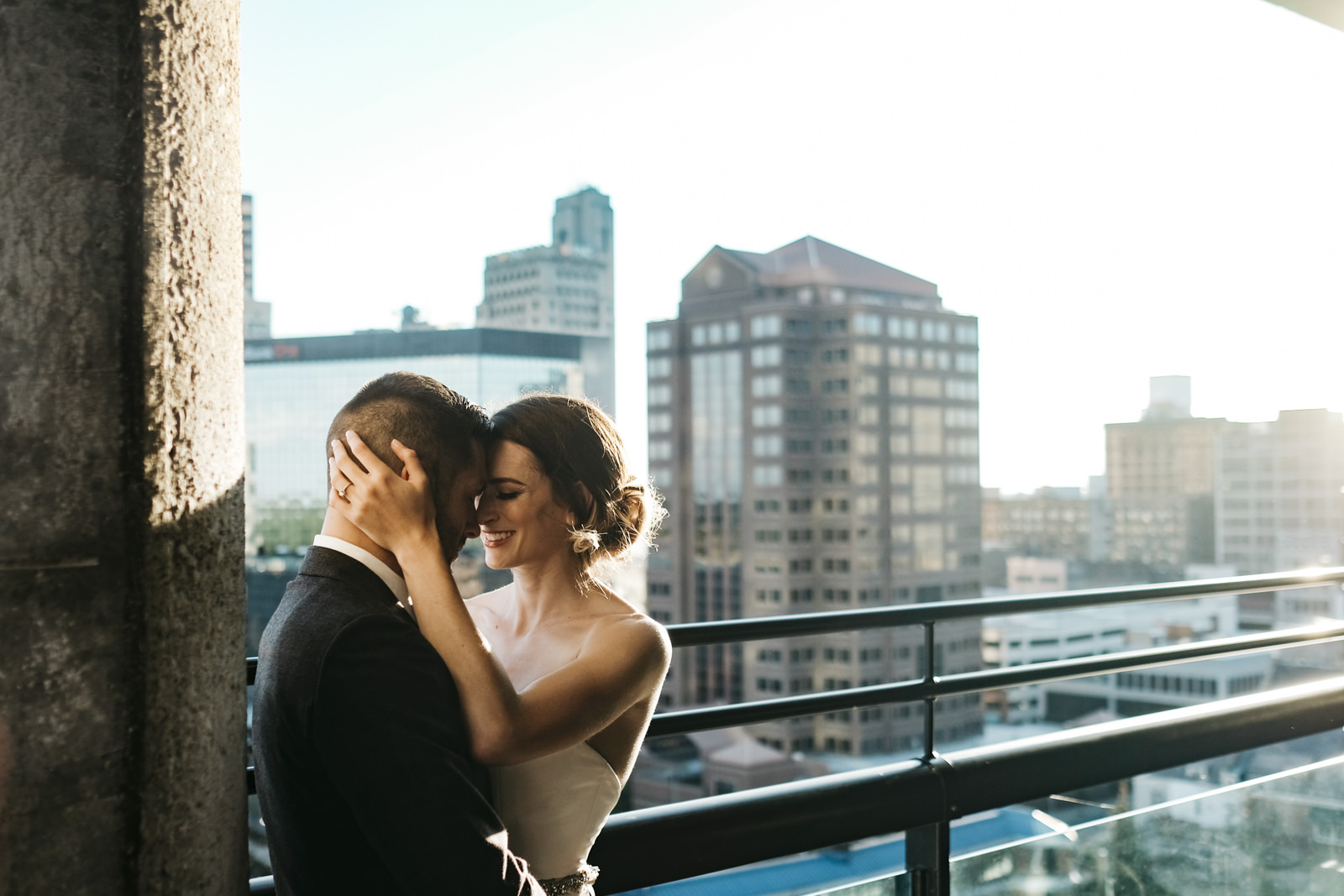 Bride and groom share an intimate moment during a styled shoot in Toledo, Ohio.
