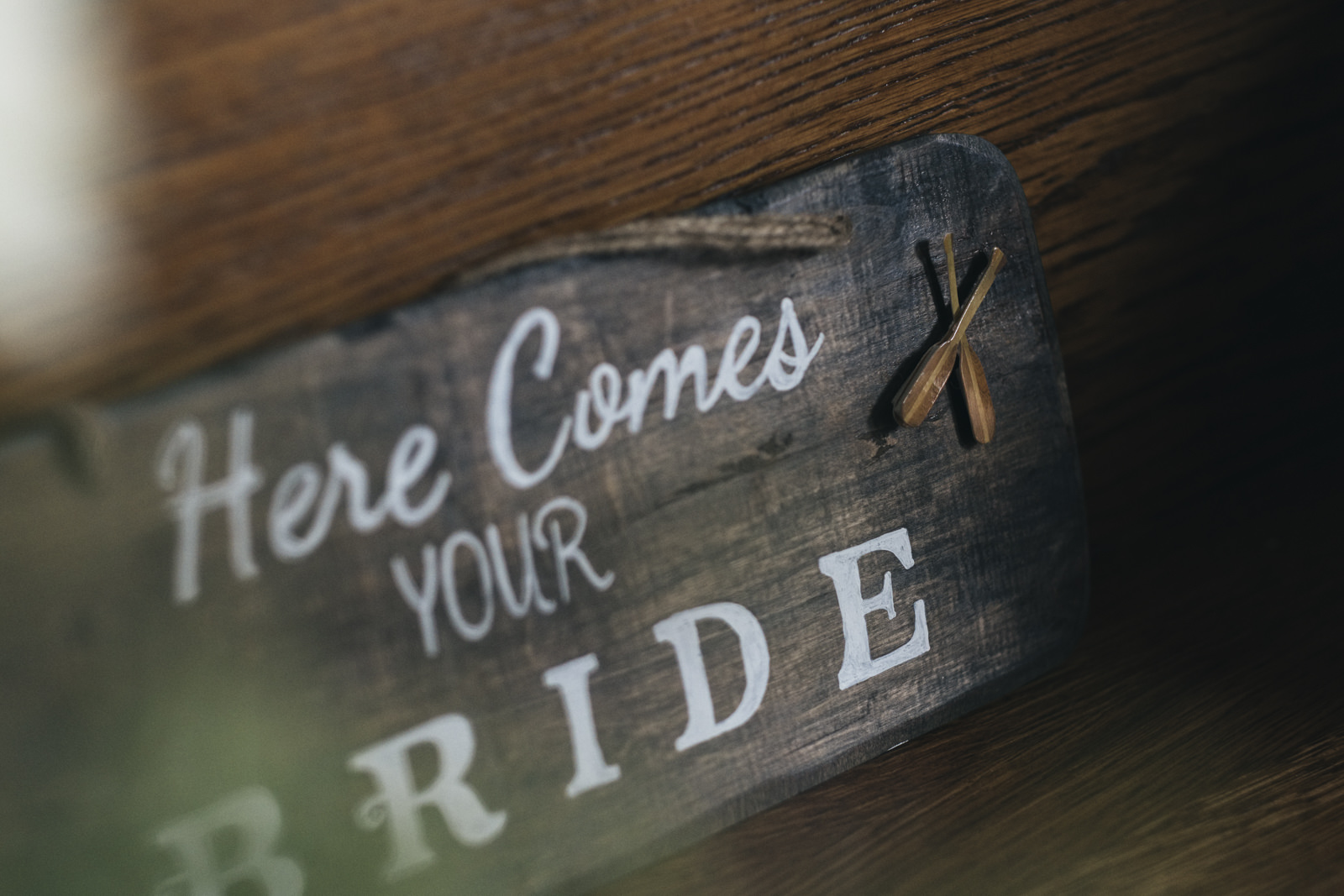 """""""Here comes your bride"""" nautical themed sign for wedding"""