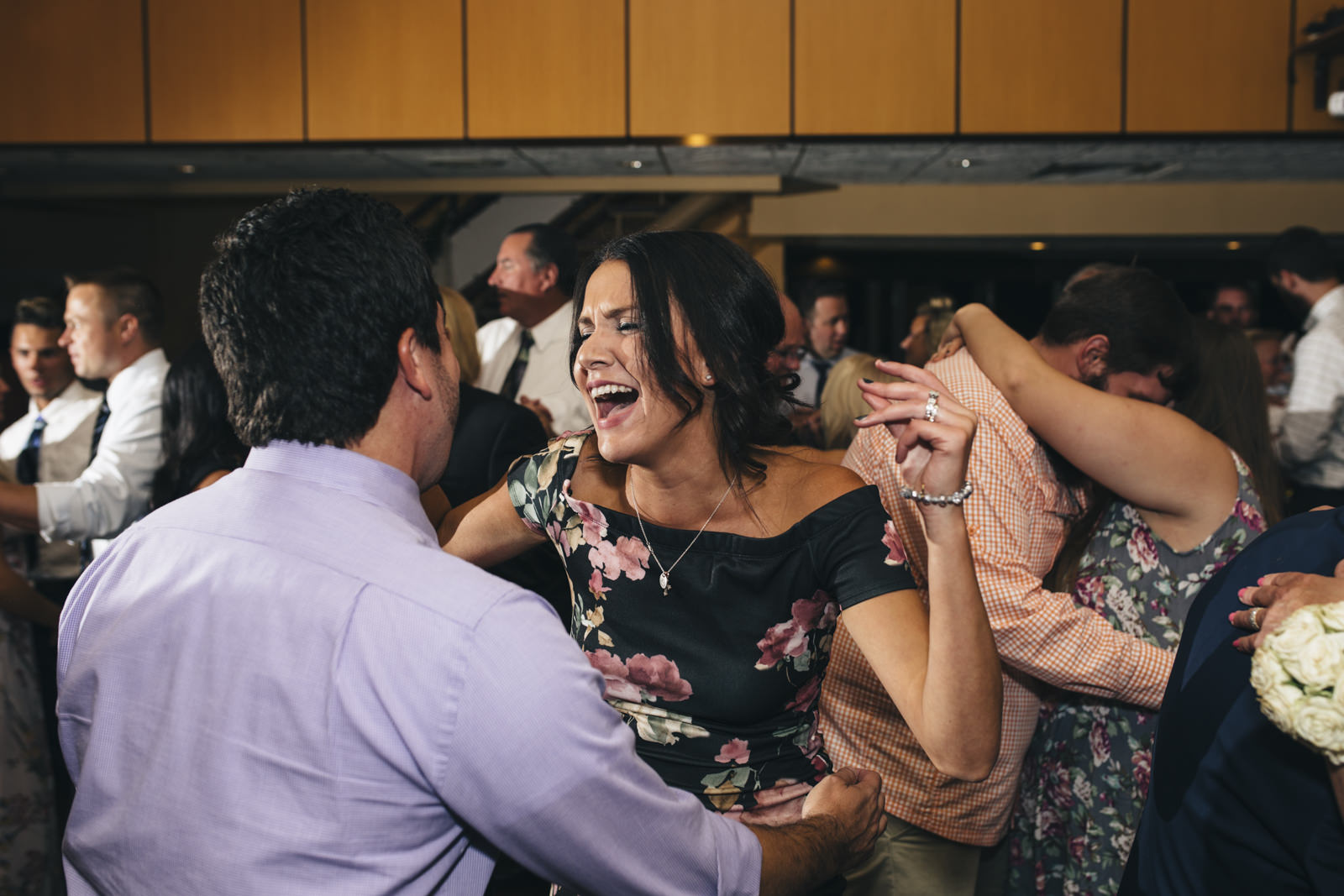 people dance at the wedding reception for nautical wedding in Michigan.