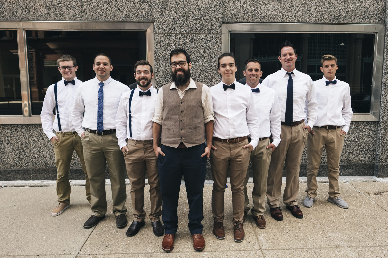 Groomsmen portrait in downtown Toledo