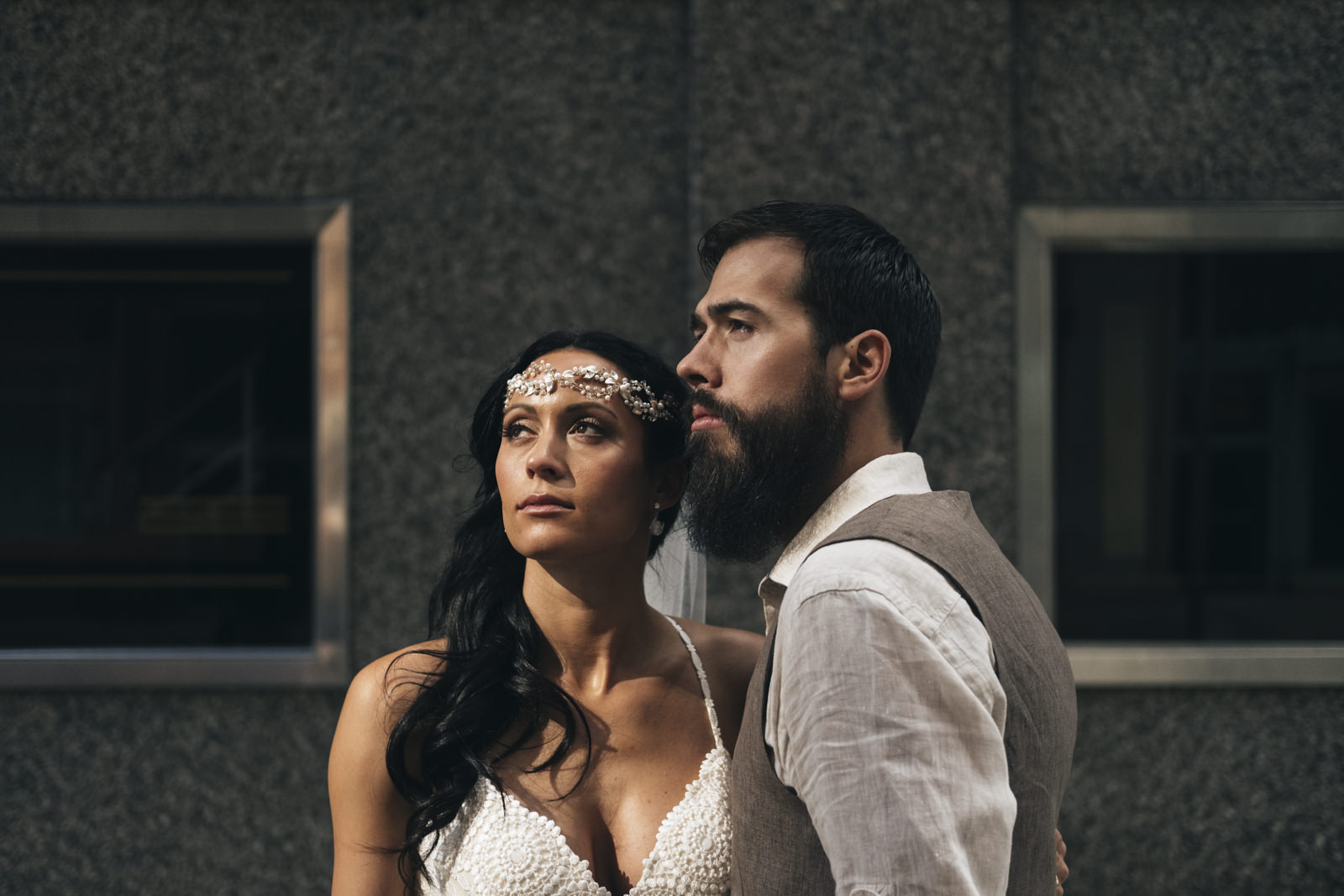 Boho bride meets industrial wedding in Downtown Toledo.