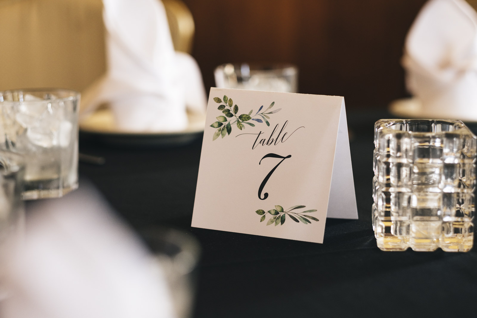 Table numbers at wedding reception in The Oliver House.