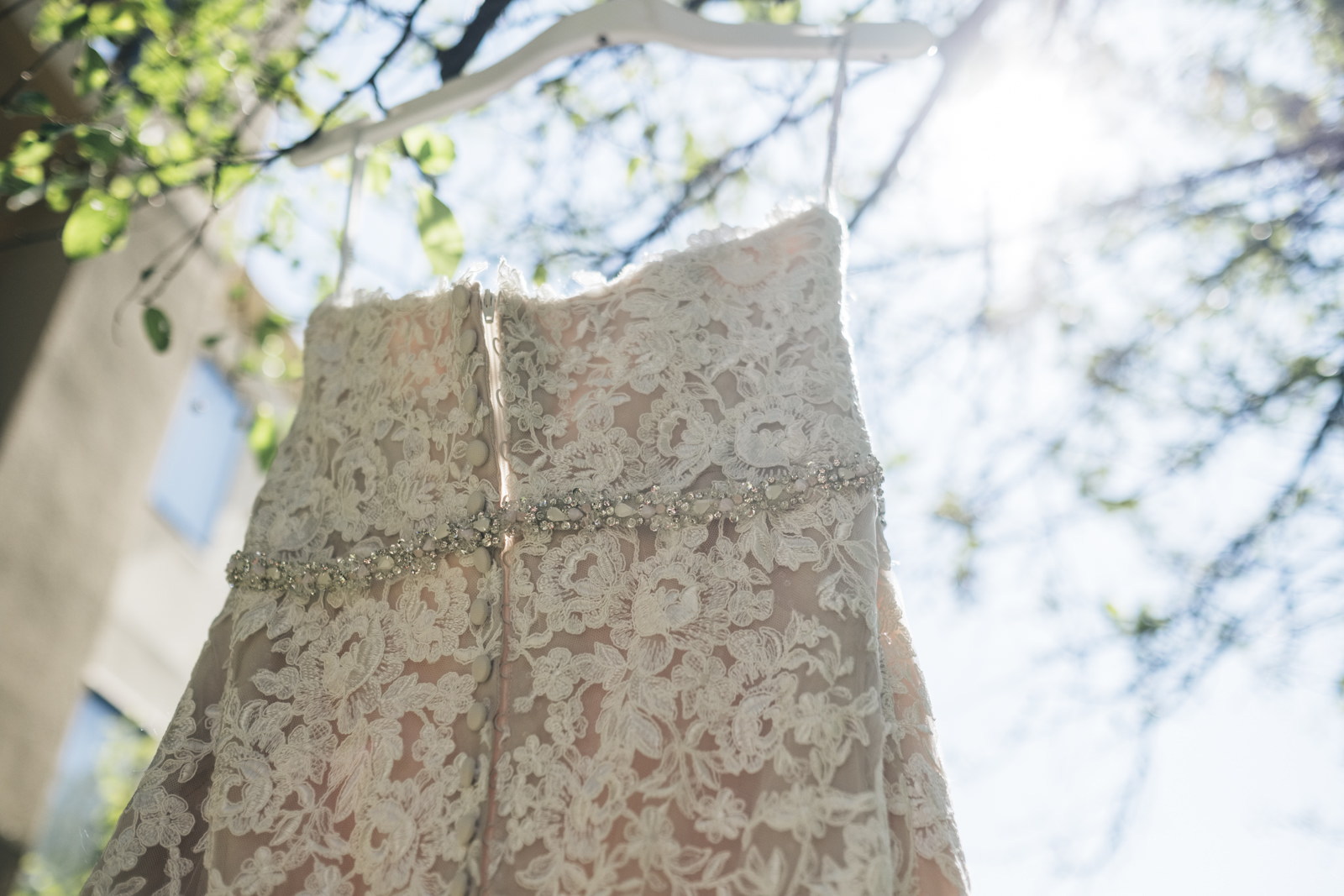 A dress hangs off a tree before the wedding ceremony in the garden at Toledo, Ohio hotel