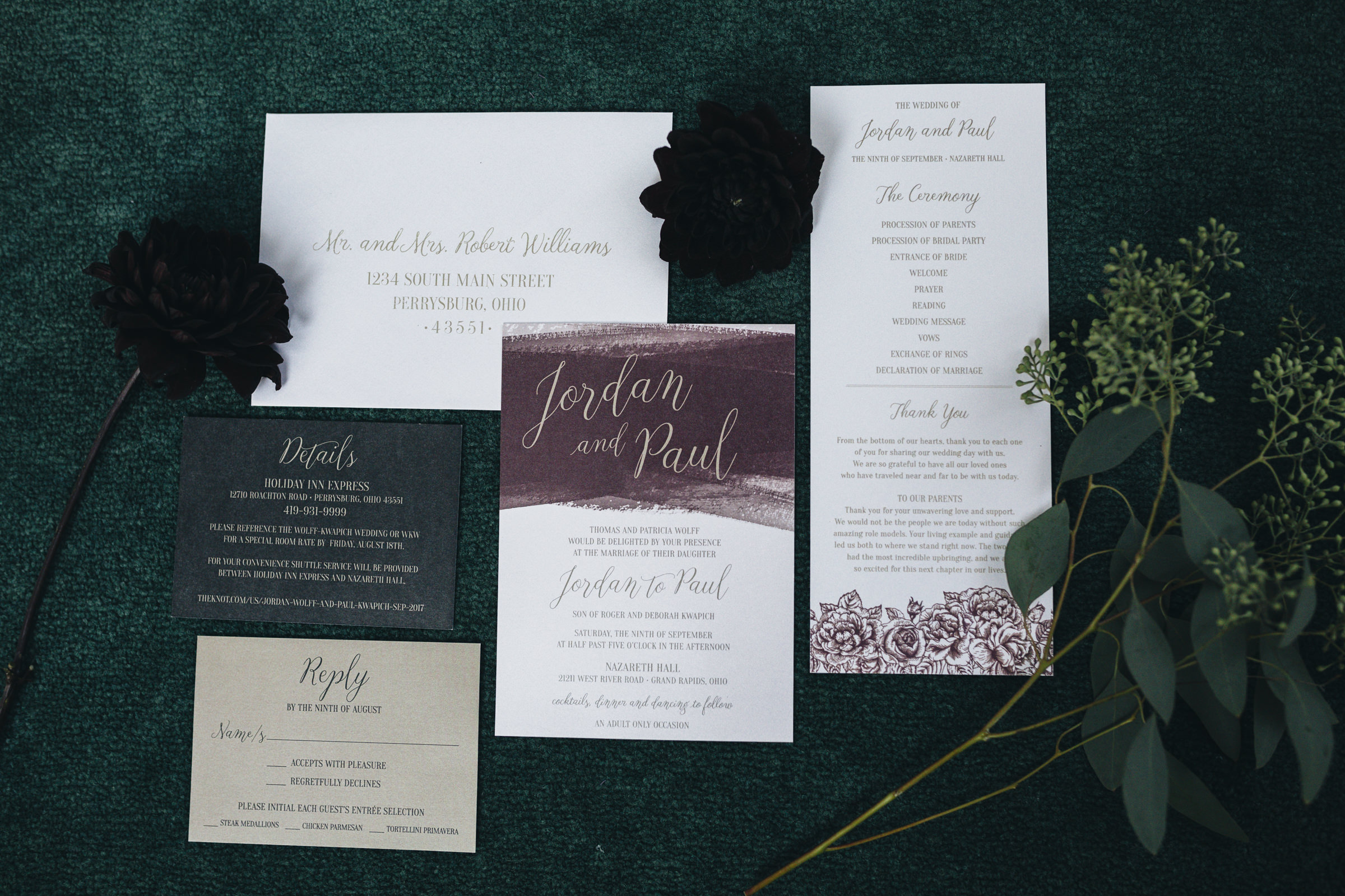 The wedding stationary used for wedding invitations and RSVP letters