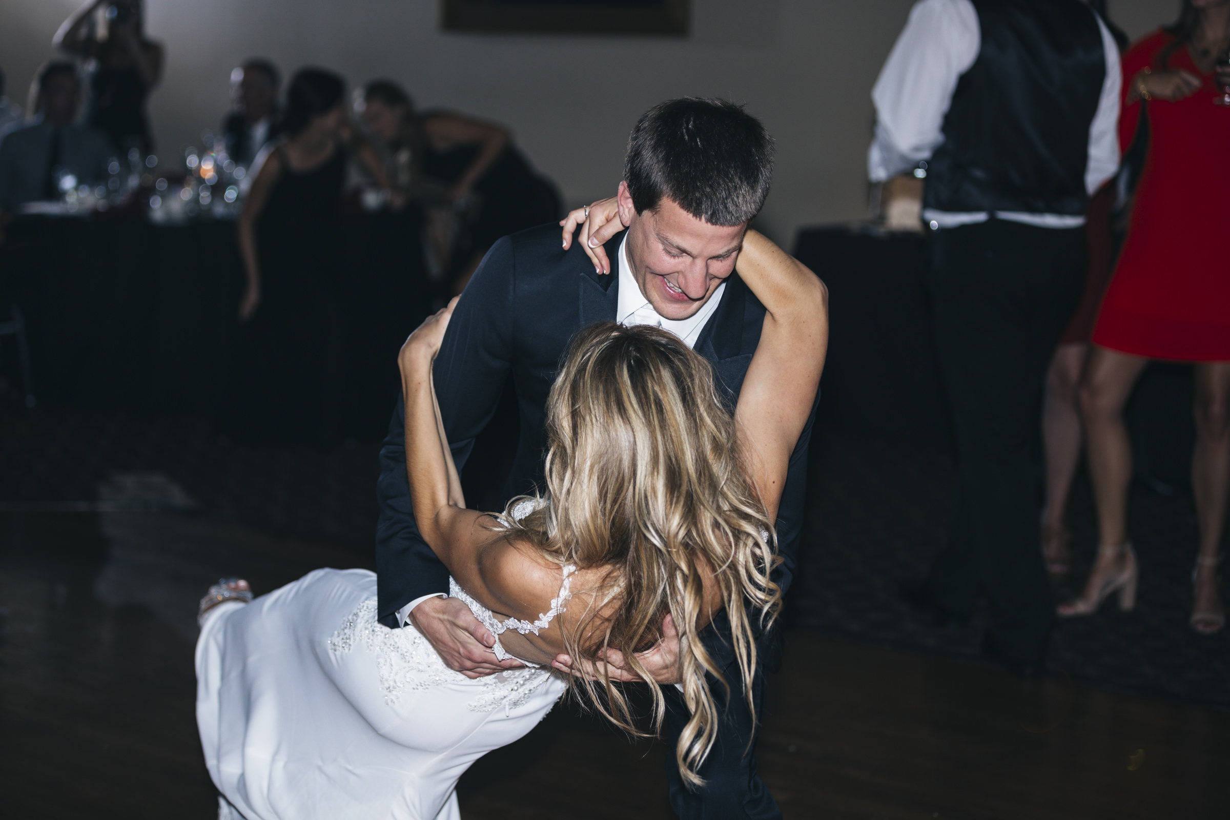 Bride and groom dance during their wedding reception at Nazareth Hall