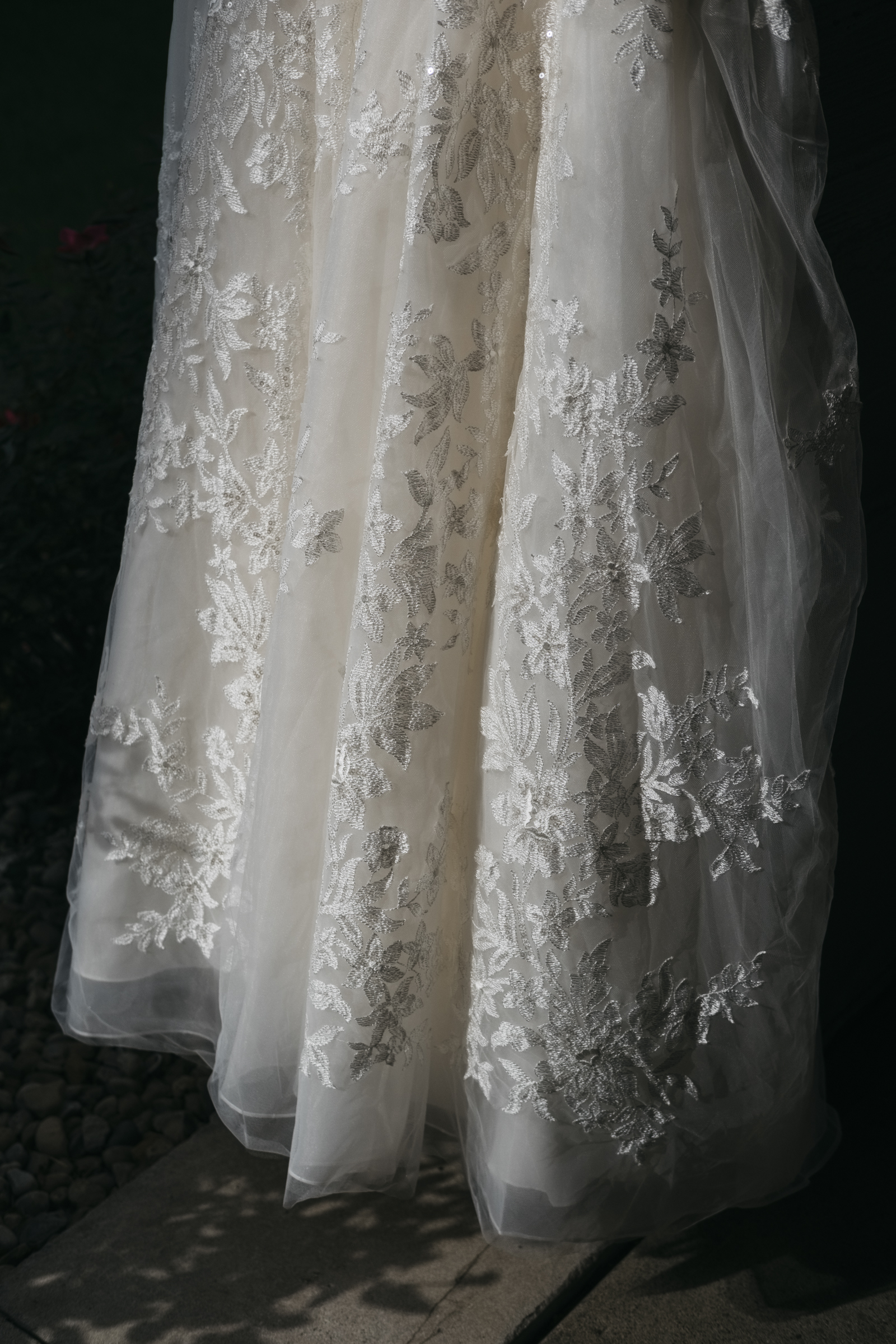 The bride's dress details with lace and floral for Fremont, Ohio wedding ceremony