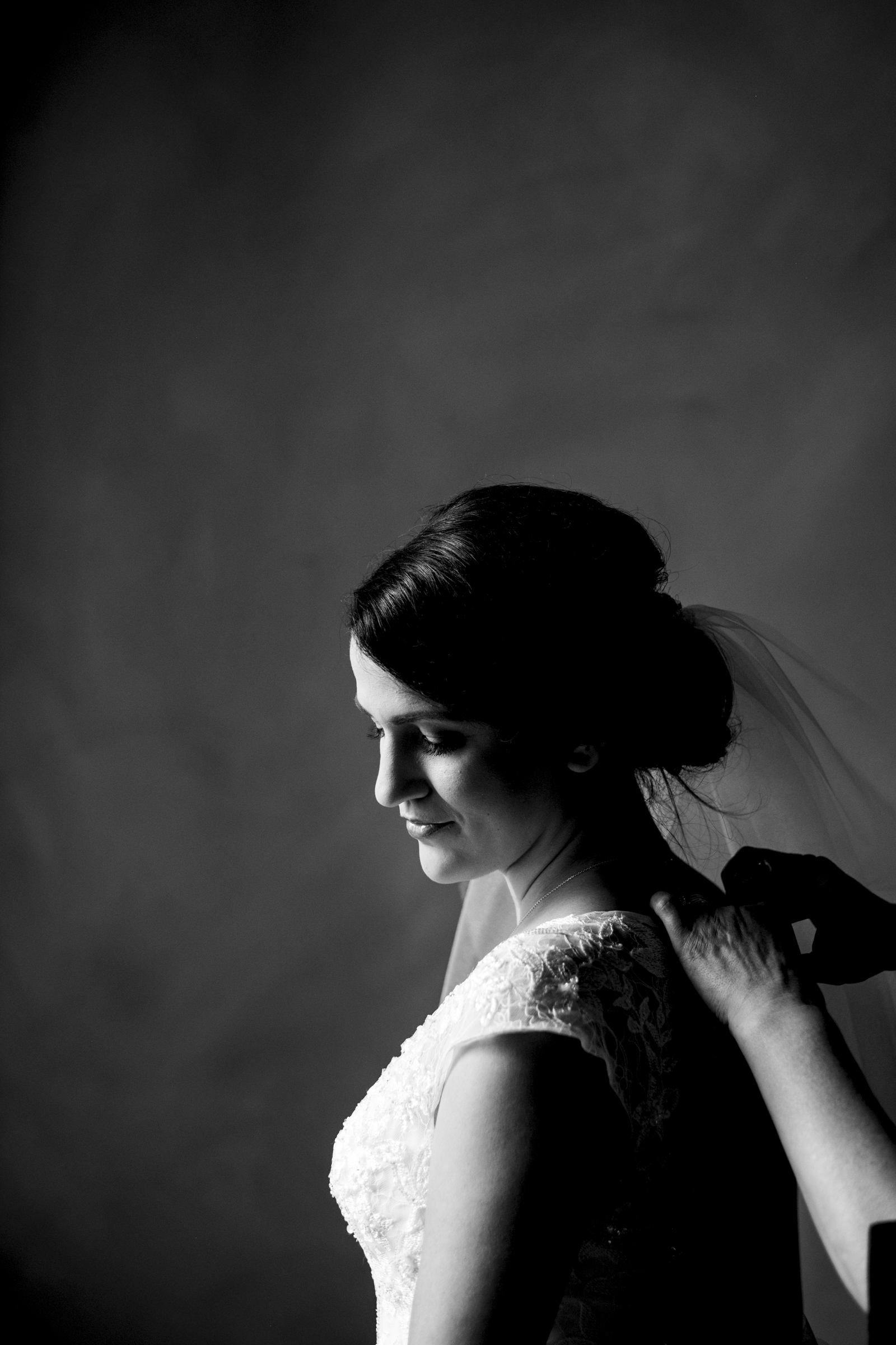 Bride stands for picture in her David's Bridal wedding gown in Fremont, Ohio