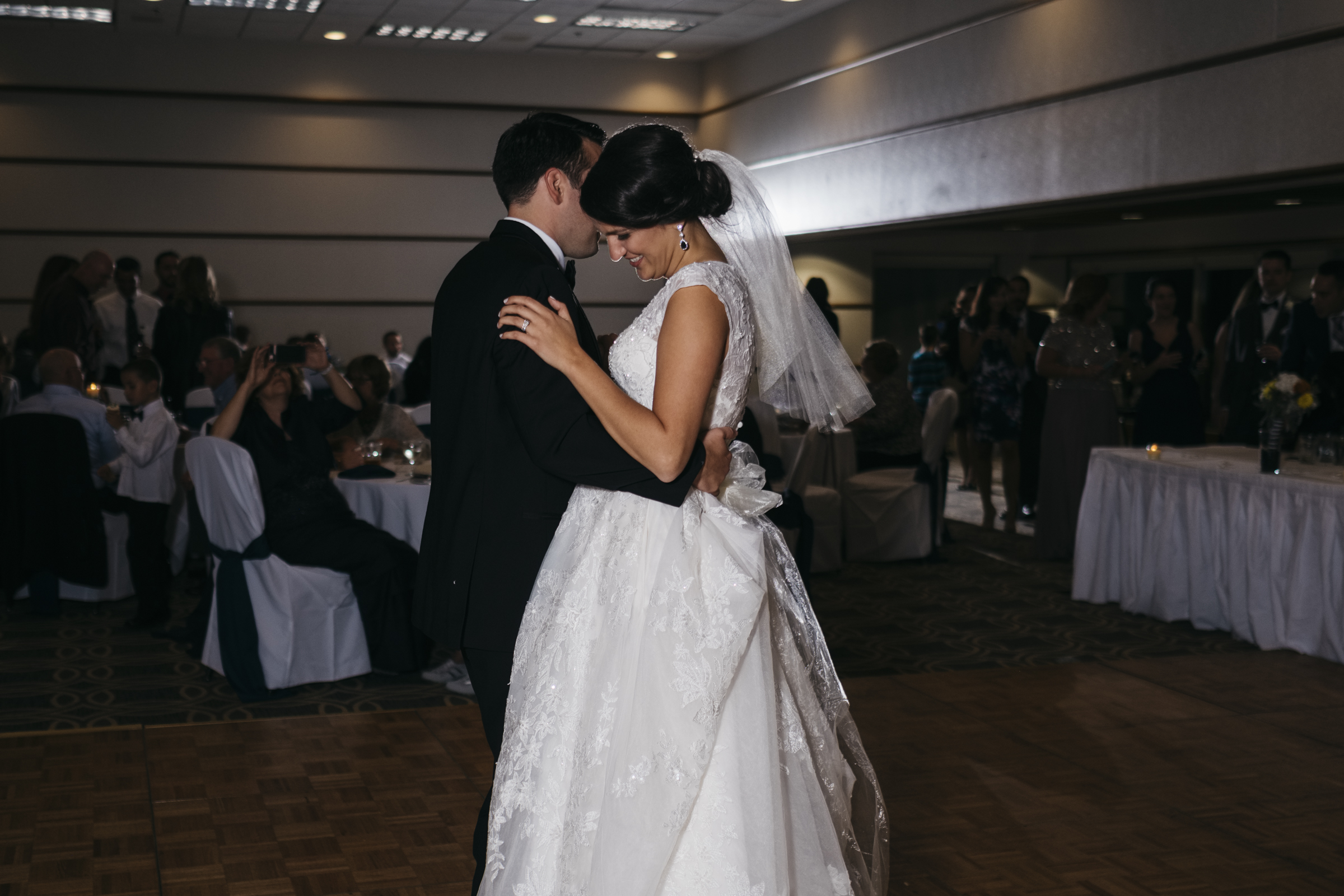 Bride dances with her new husband at their wedding reception in Toledo Ohio