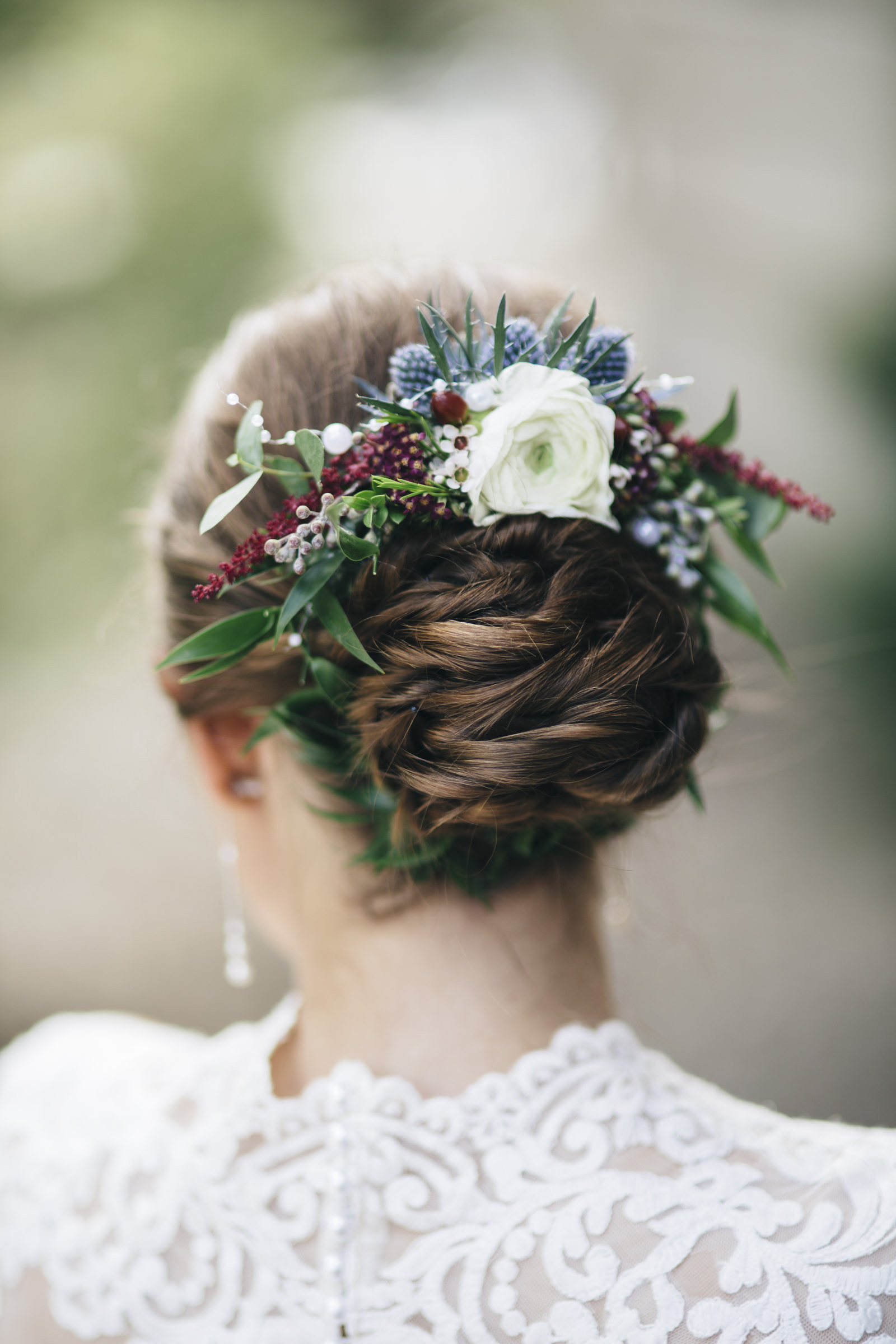 The bride's floral wedding crown up-do for her wedding ceremony