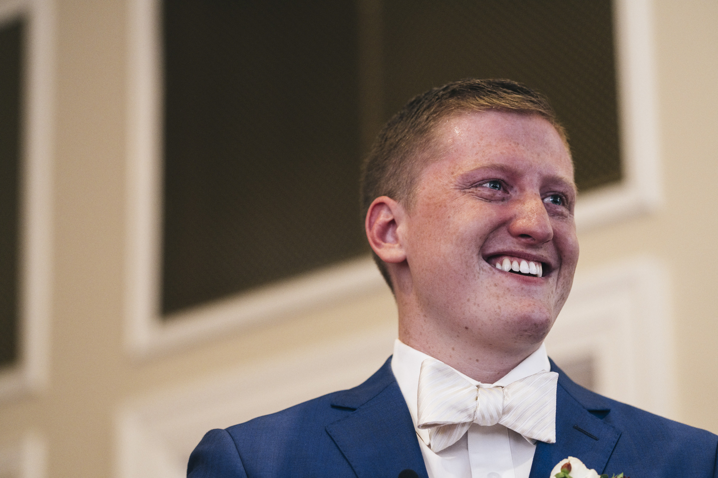 The groom gets emotional before his wedding ceremony in Bowling Green Ohio