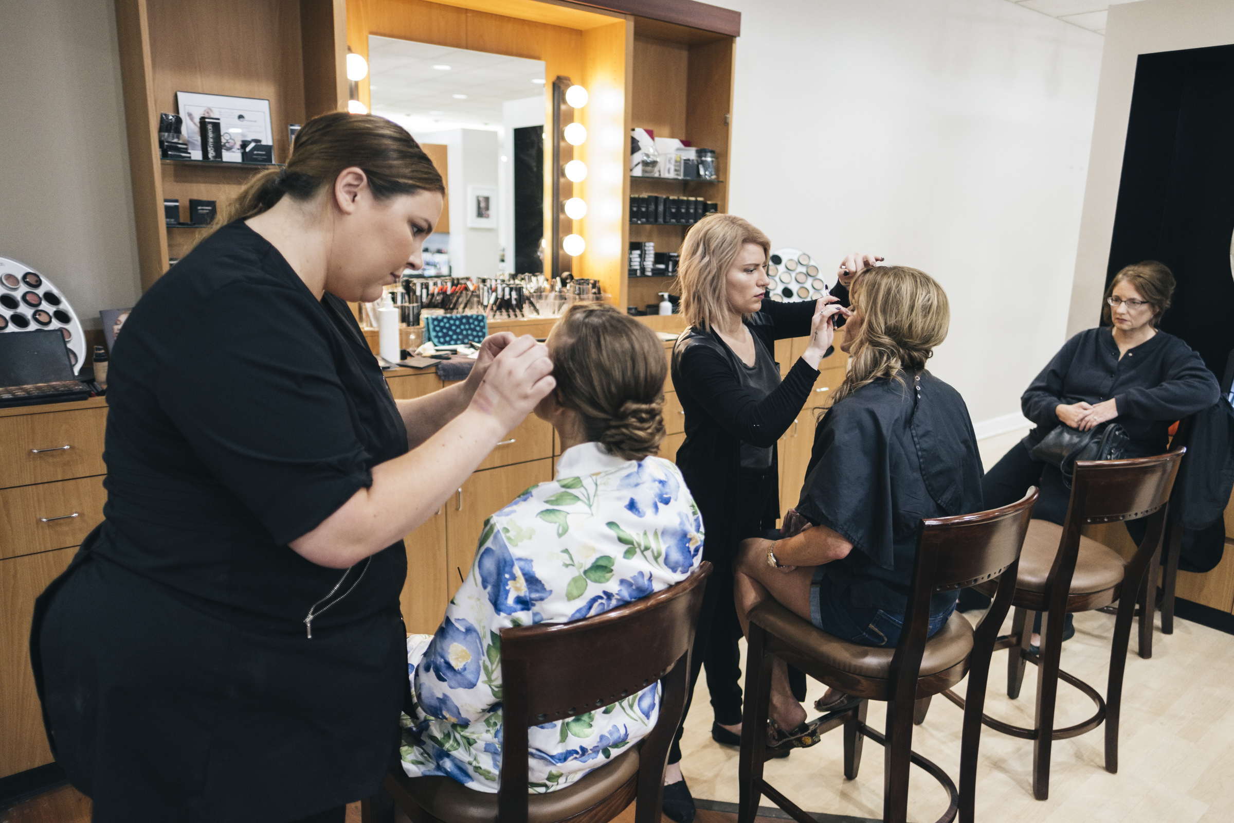 Girls get ready at Soto Signature Hair Salon and Spa in Perrysburg before wedding ceremony