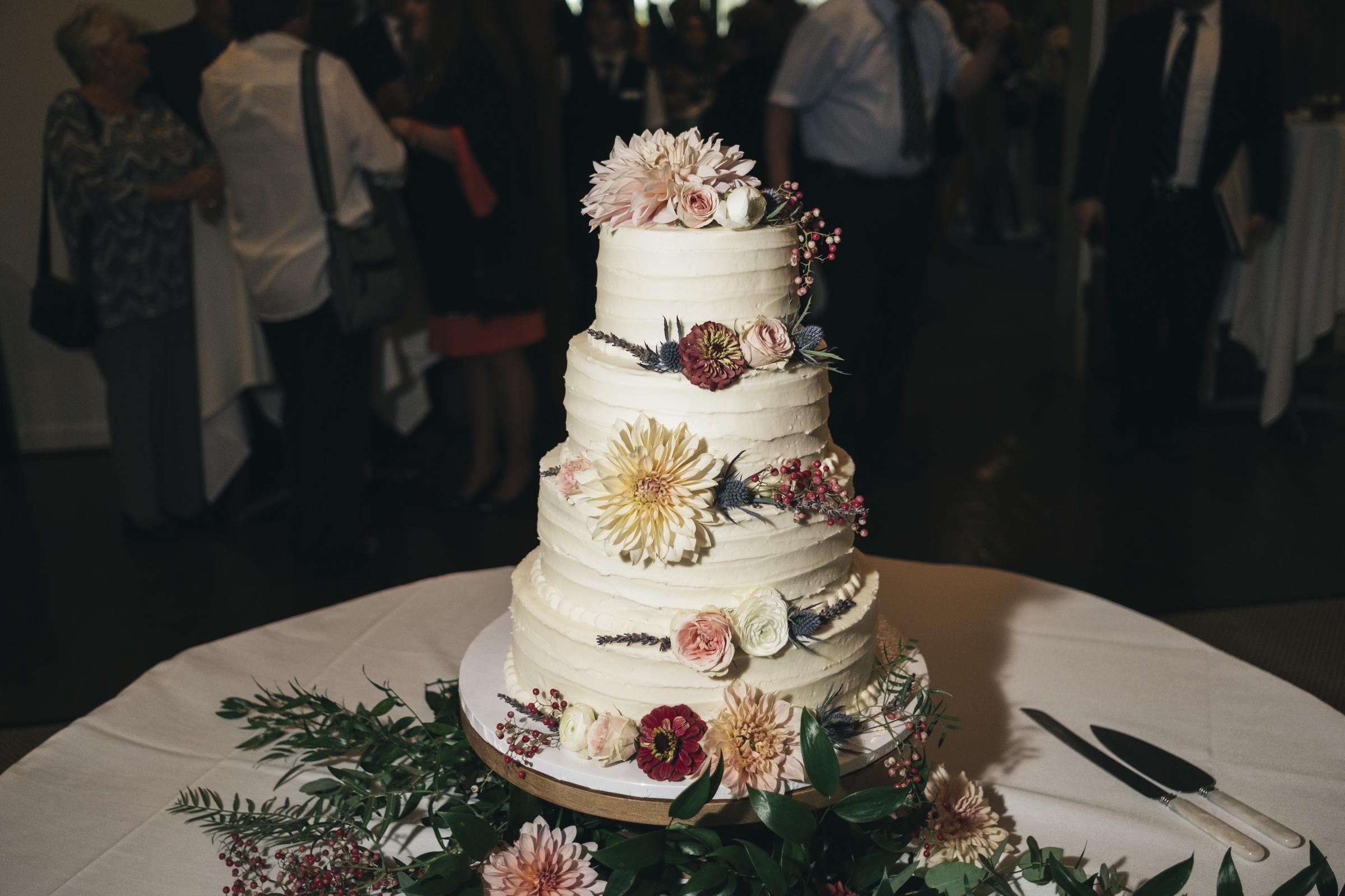 Maroon, blush, and cream wedding cake in Northwest Ohio