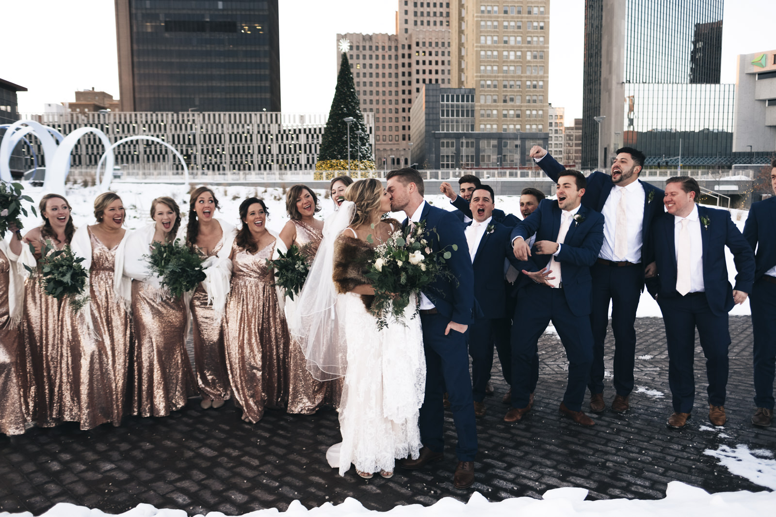 Bridal party in winter wedding in Downtown Toledo, Ohio.
