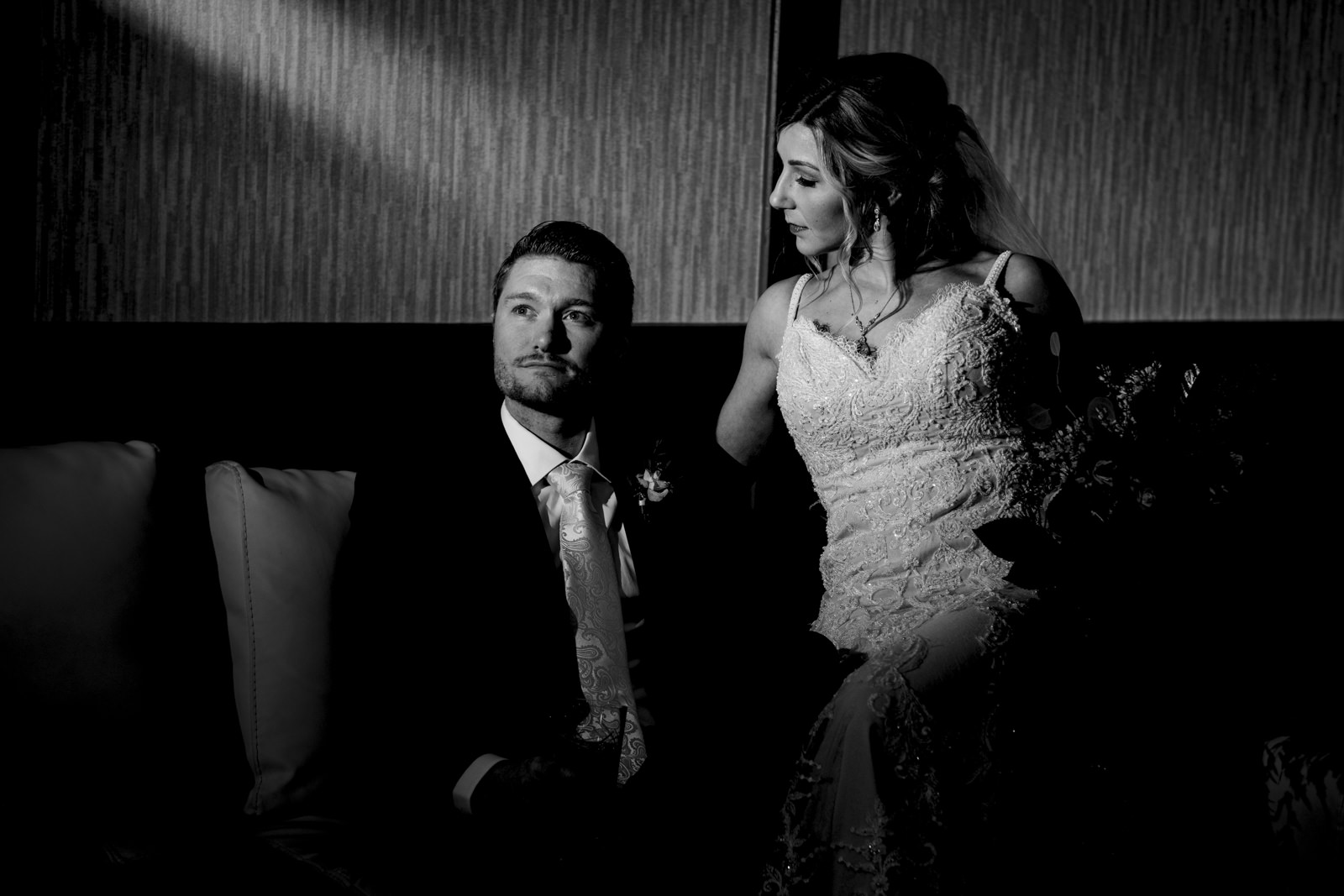 Bride and groom portrait at the Renaissance Hotel in Downtown Toledo.