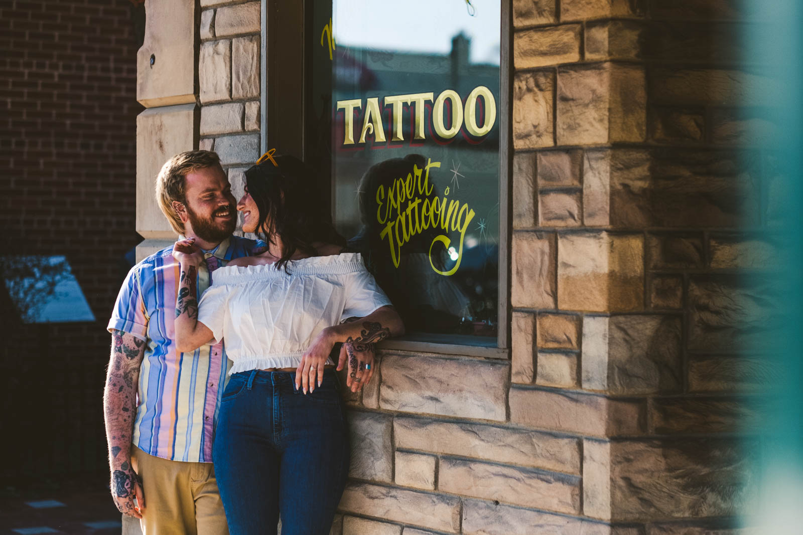 Engagement session at Depot Town Tattoo
