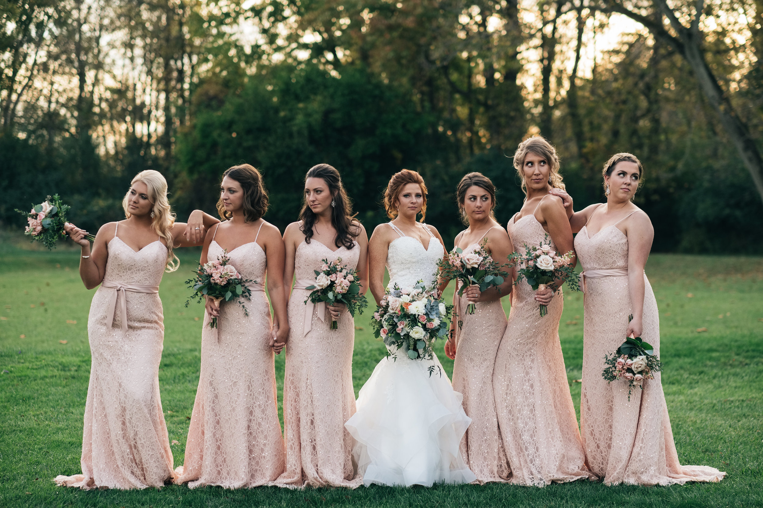 Outdoor Bridal Party Photo with Bridesmaids