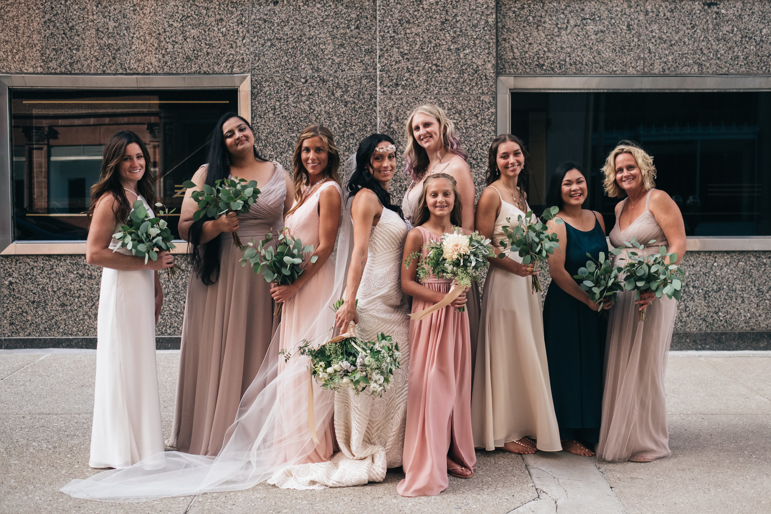 Bridesmaids Pose Outdoors for Toledo Wedding Photographers