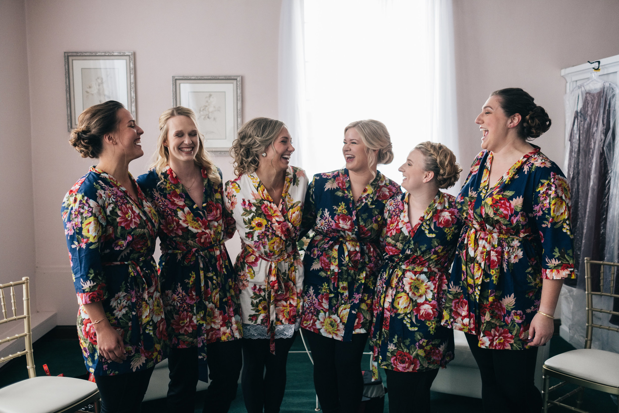 Bridesmaids Gather for Photo Before Ceremony