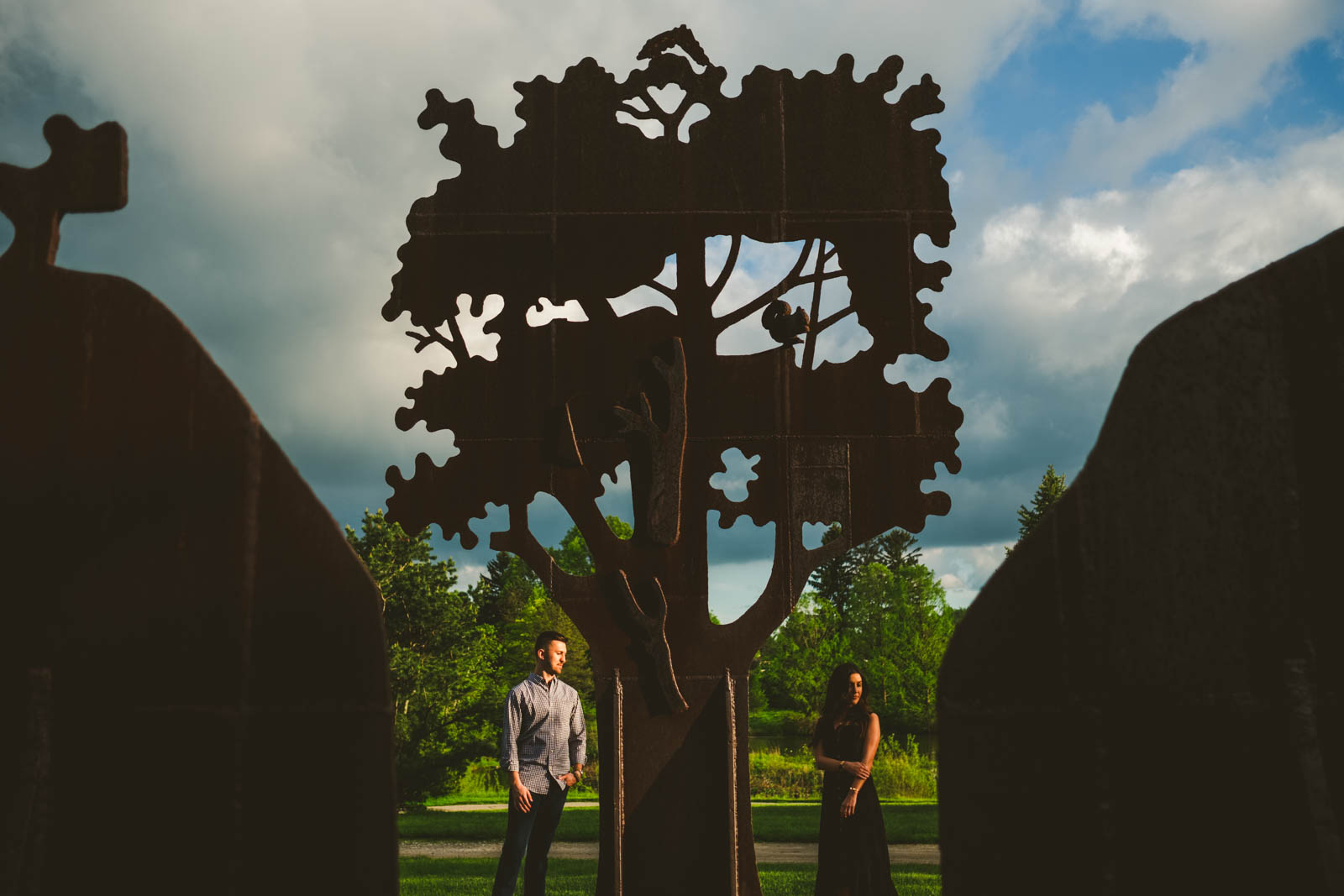 Couple Stands in Toledo Botanical Gardens for Engagement Session