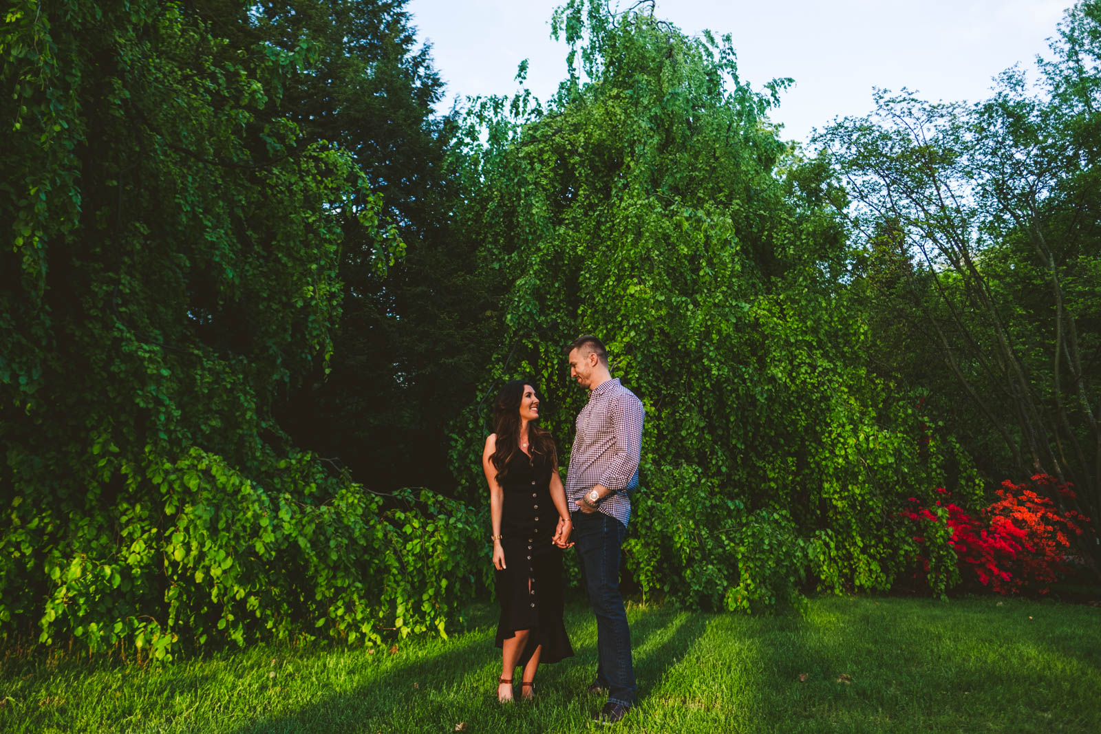 Couple Stands in Toledo Botanical Gardens for Their Engagement Session