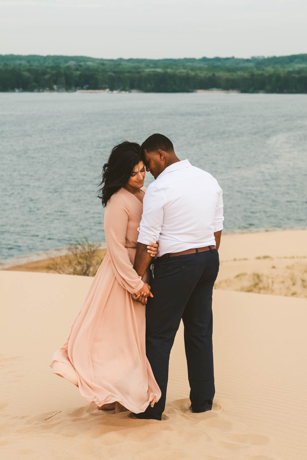 Engagement Session in Sand Dunes on the Shores of Silver Lake with Toledo Wedding Photographers