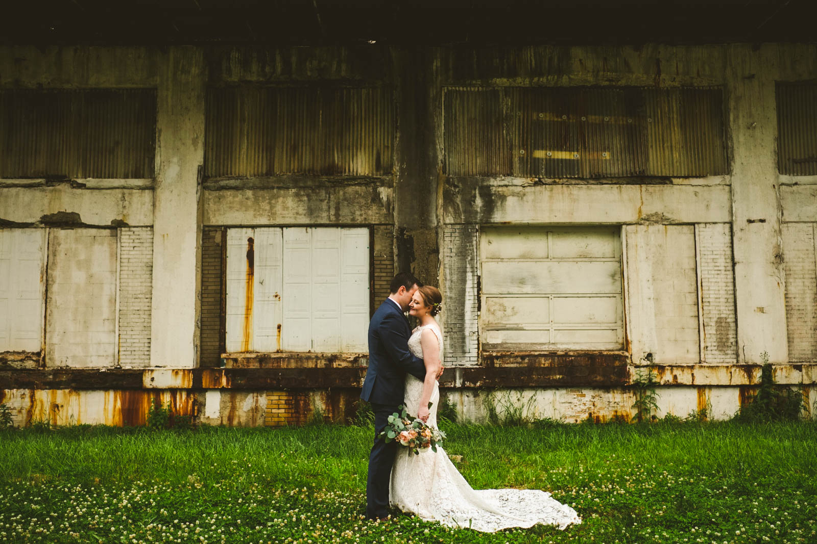 Bride and Groom at Maumee Bay Brewing Company with Toledo Wedding Photographers