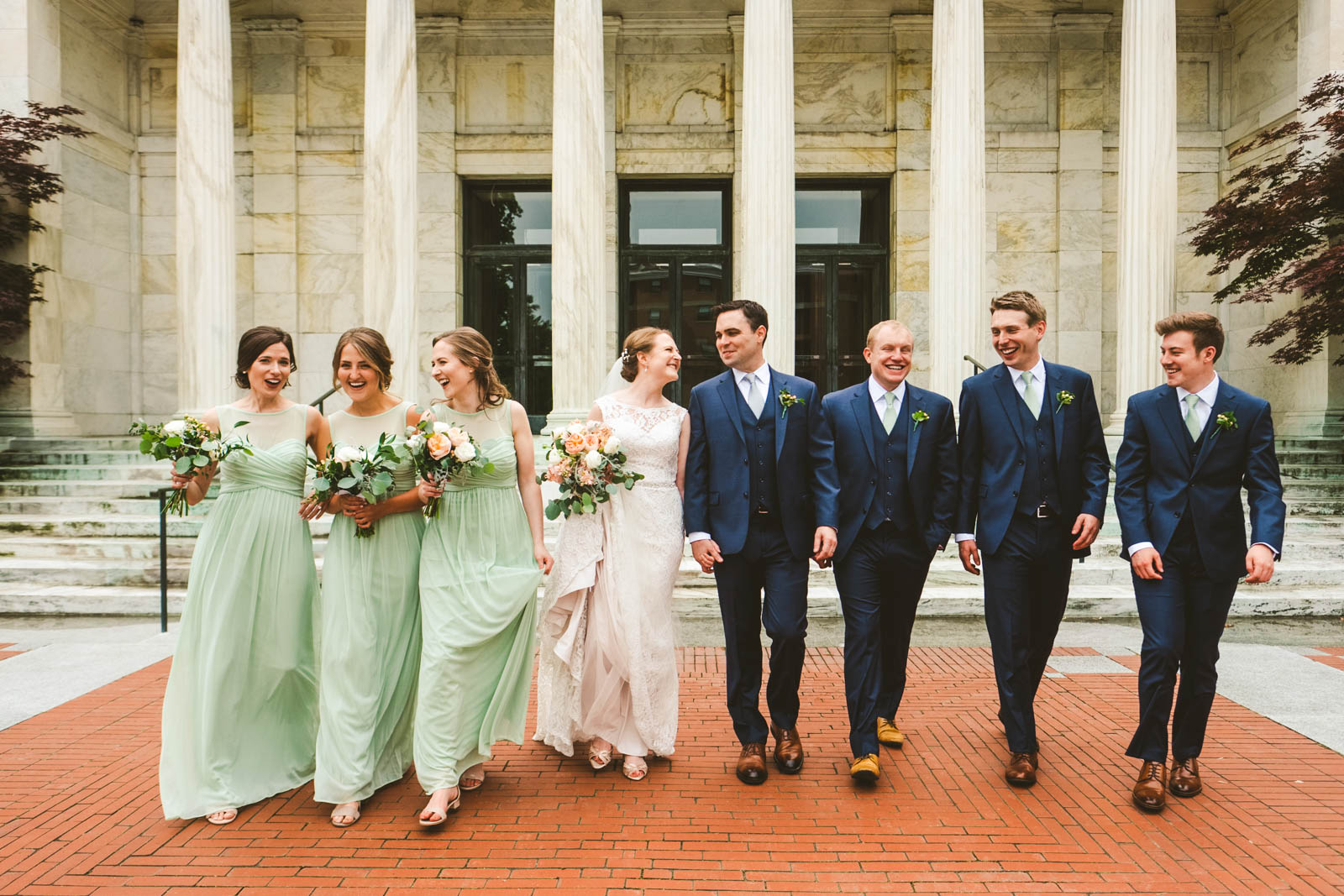 Bridal Party Pose for Toledo Wedding Photographers at The Toledo Museum of Art