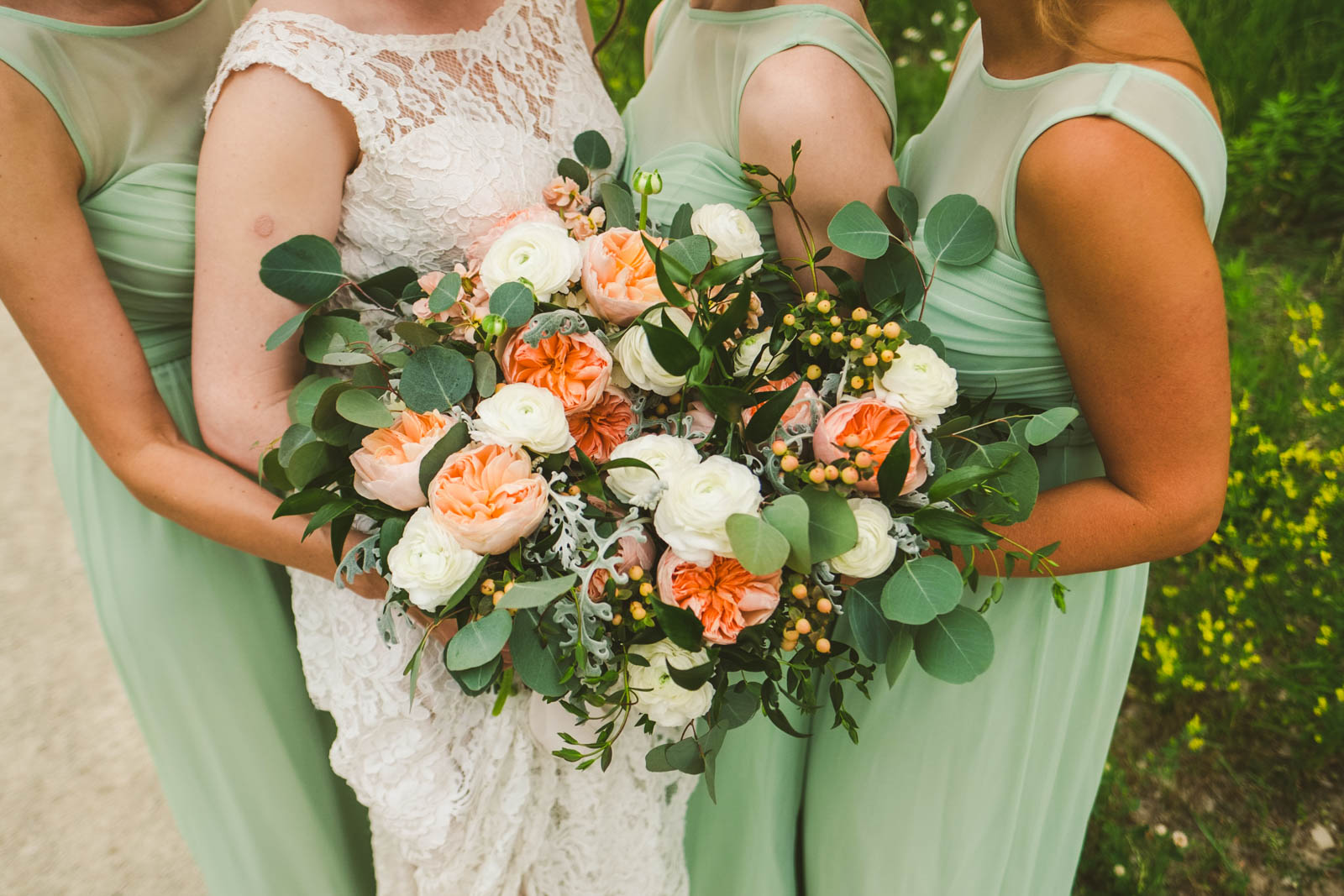 Bridesmaids with Bouquets on Wedding Day in Toledo Ohio