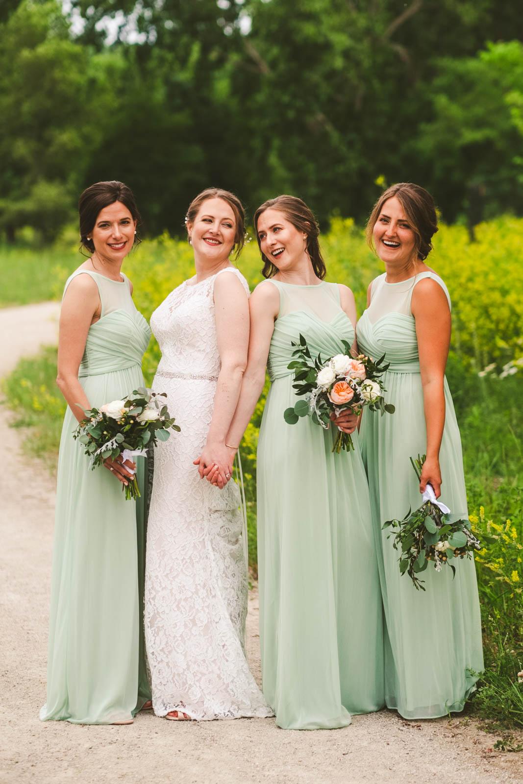 Bridesmaids Smile for Toledo Wedding Photographers in Toledo On Wedding Day