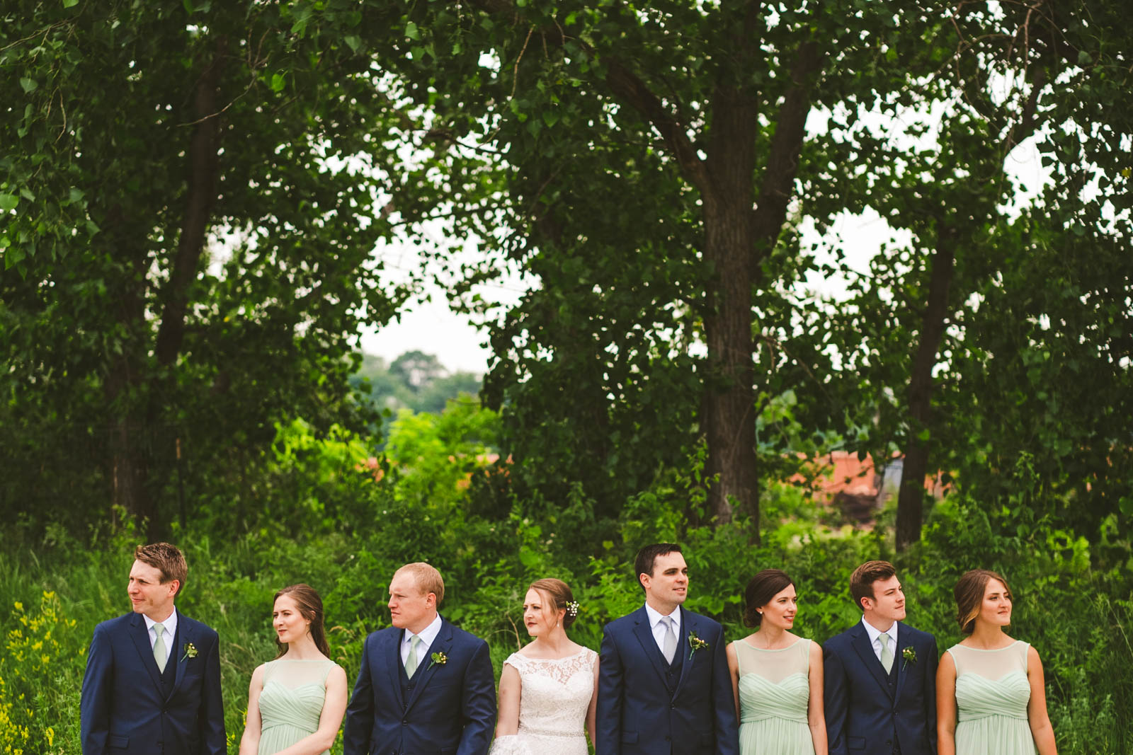 Bridal Party Poses for Toledo Wedding Photographers in Downtown Toledo