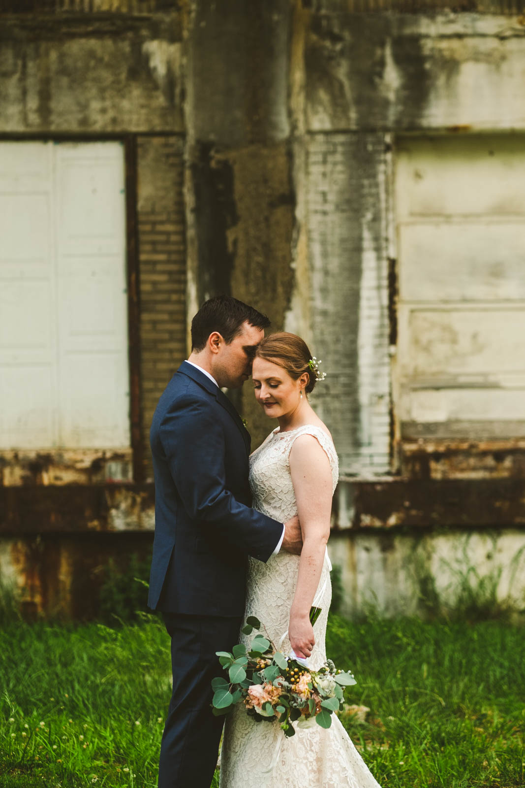 Bride and Groom on Wedding Day in Toledo Near Maumee Bay Brewing Company Warehouse