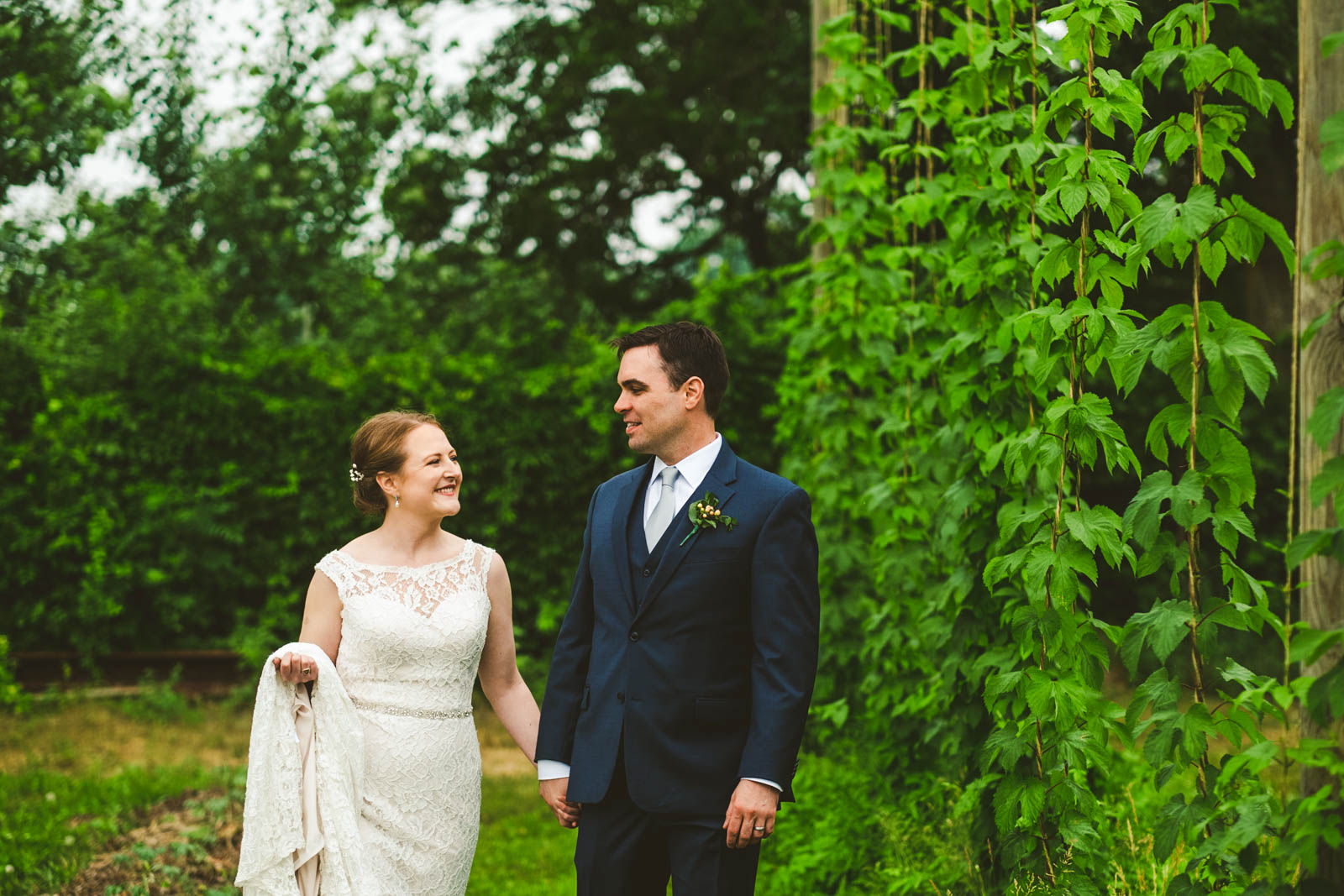 Maumee Bay Brewing Company Hop Gardens on Wedding Day in Toledo Ohio