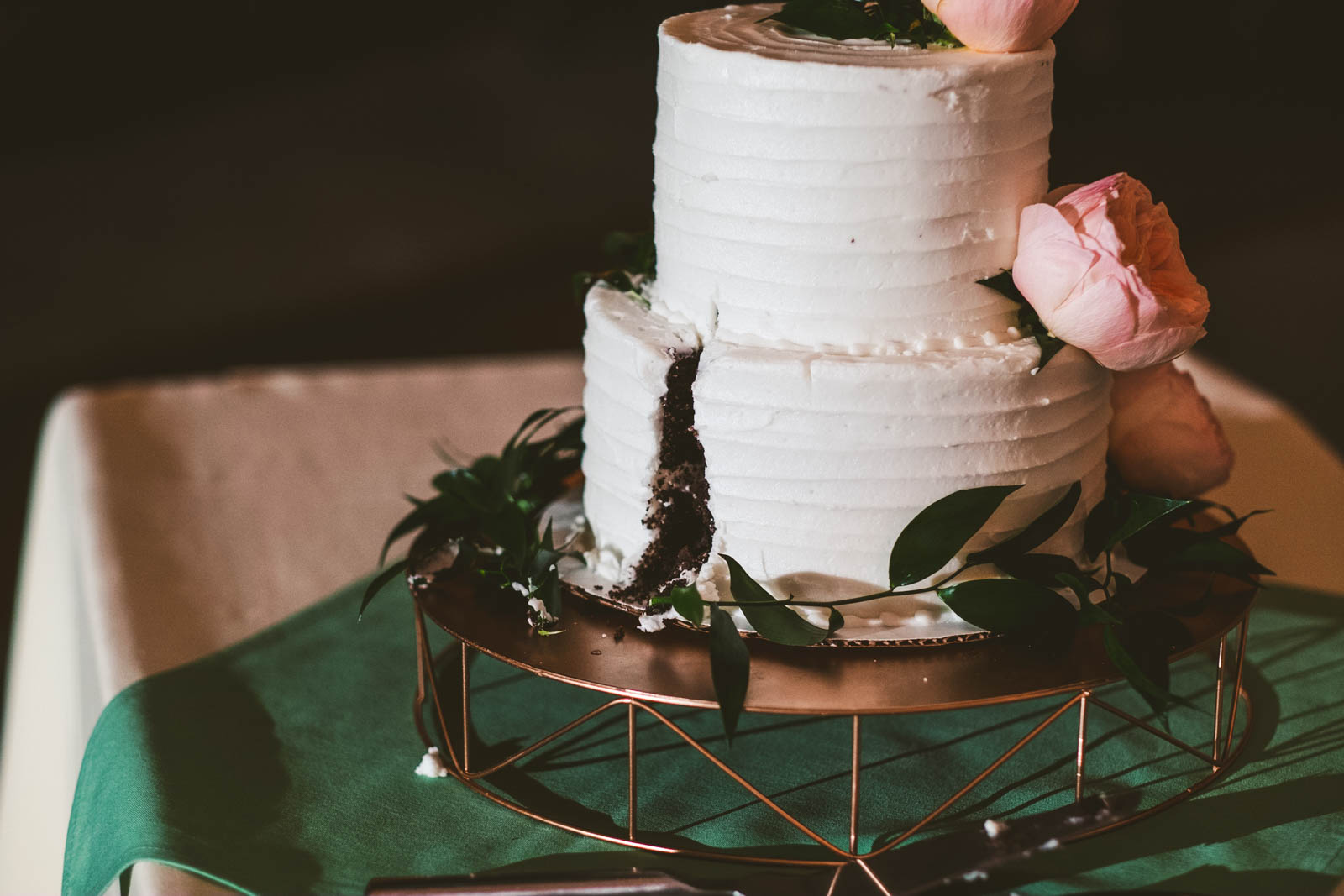 Wedding Cake Cut at Reception in Toledo Ohio at the Maumee Bay Brewing Company