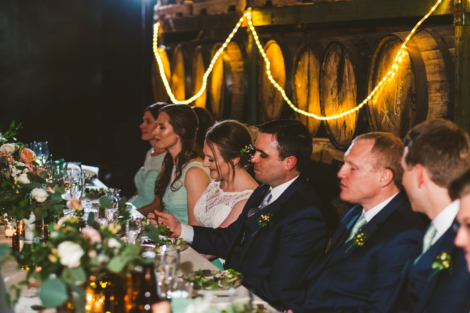 Photo of Head Table at Wedding Reception in Toledo Ohio at Maumee Bay Brewing Company