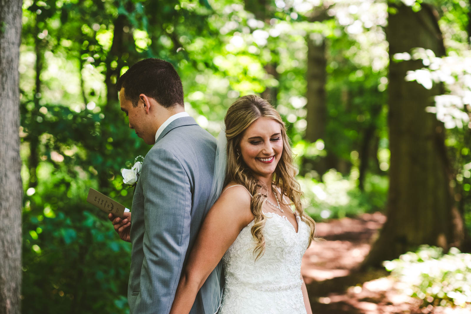 Bride and Groom's First Look on Wedding Day in Bowling Green Ohio with Toledo Wedding Photographers at Stone Ridge Golf Club
