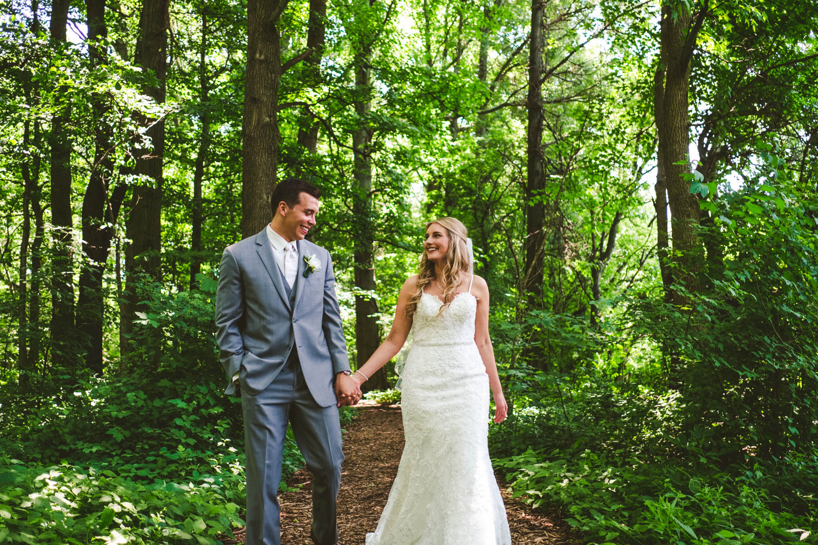 Bride and Groom at Winter Garden Park in Bowling Green Ohio on Wedding Day