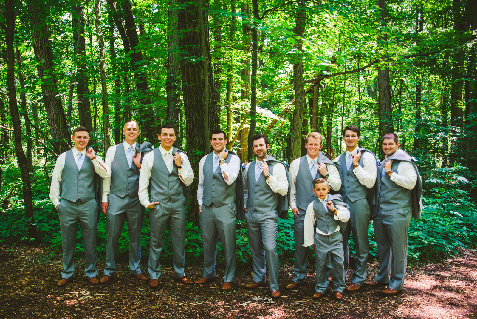 Groomsmen at Winter Garden Park with Toledo Wedding Photographers on Wedding Day in Bowling Green Ohio